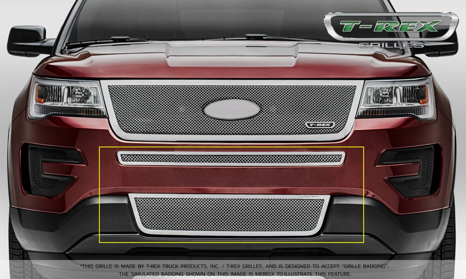T-REX Grilles - Ford Explorer - Upper Class - 2 Piece Overlay - Bumper Grille - Polished Stainless Steel Formed Mesh - Pt # 55664