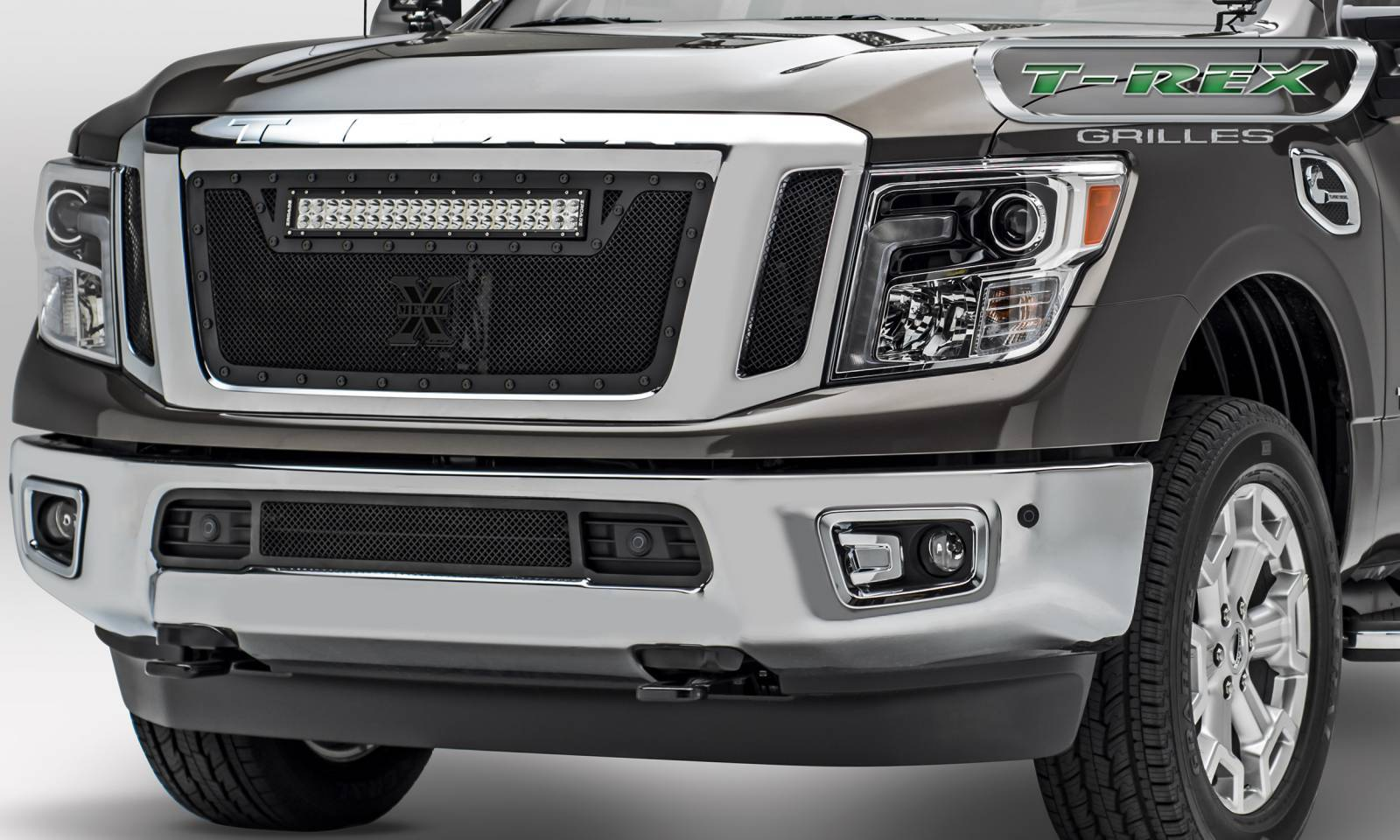 T-REX Nissan Titan - Stealth Torch w/ (1) ZROADZ LED Light Bar - 3 Pc Insert - Main Grille - Black - Pt # 6317851-BR