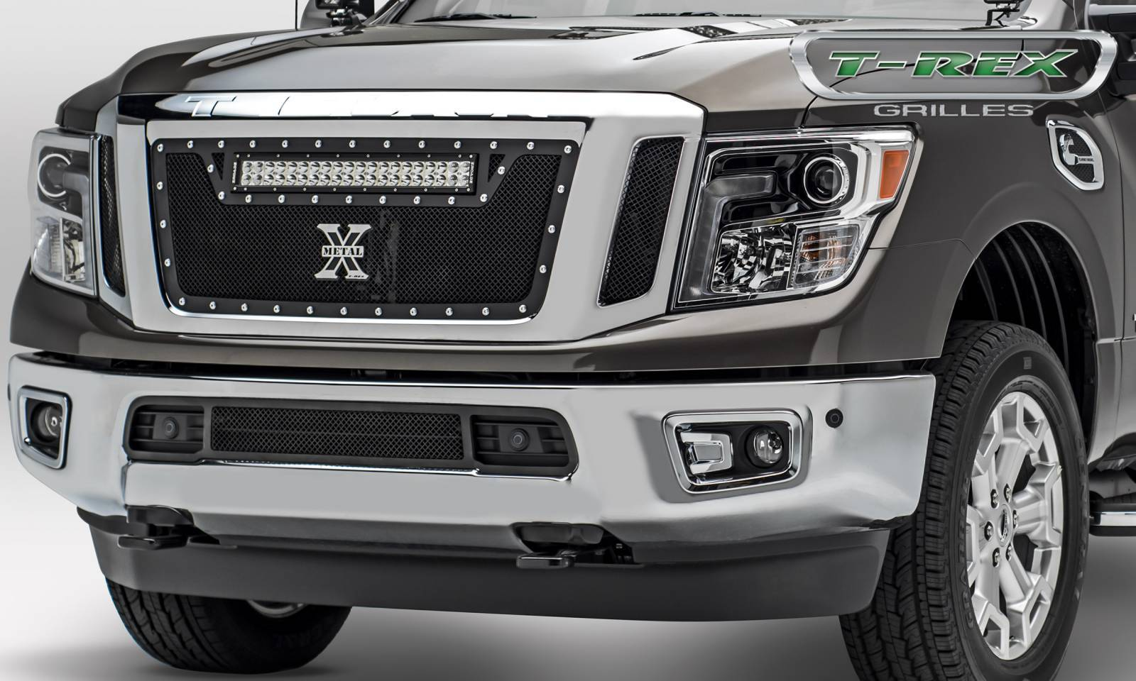 T-REX Nissan Titan - Torch Series w/ (1) ZROADZ LED Light Bar - 3 Pc Insert - Main Grille - Black - Pt # 6317851