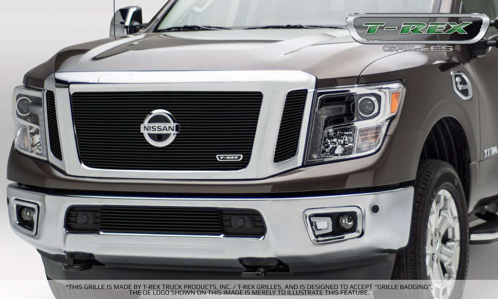 T-REX Nissan Titan - Billet Series - 3 Pc Insert - Main Grille w/ Logo Mounts - Black - Pt # 20785B