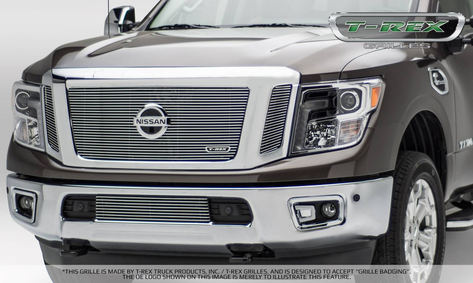 T-REX Grilles - Nissan Titan - Billet Series - 3 Pc Insert - Main Grille w/ Logo Mounts - Polished - Pt # 20785