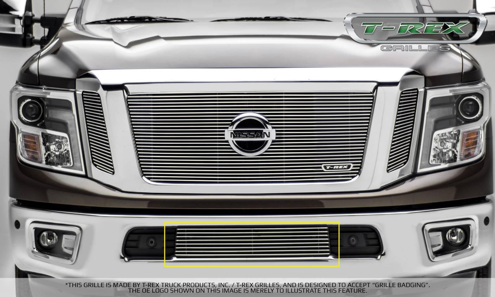 T-REX Nissan Titan - Billet Series - Bumper Grille Overlay - Polished - Pt # 25785