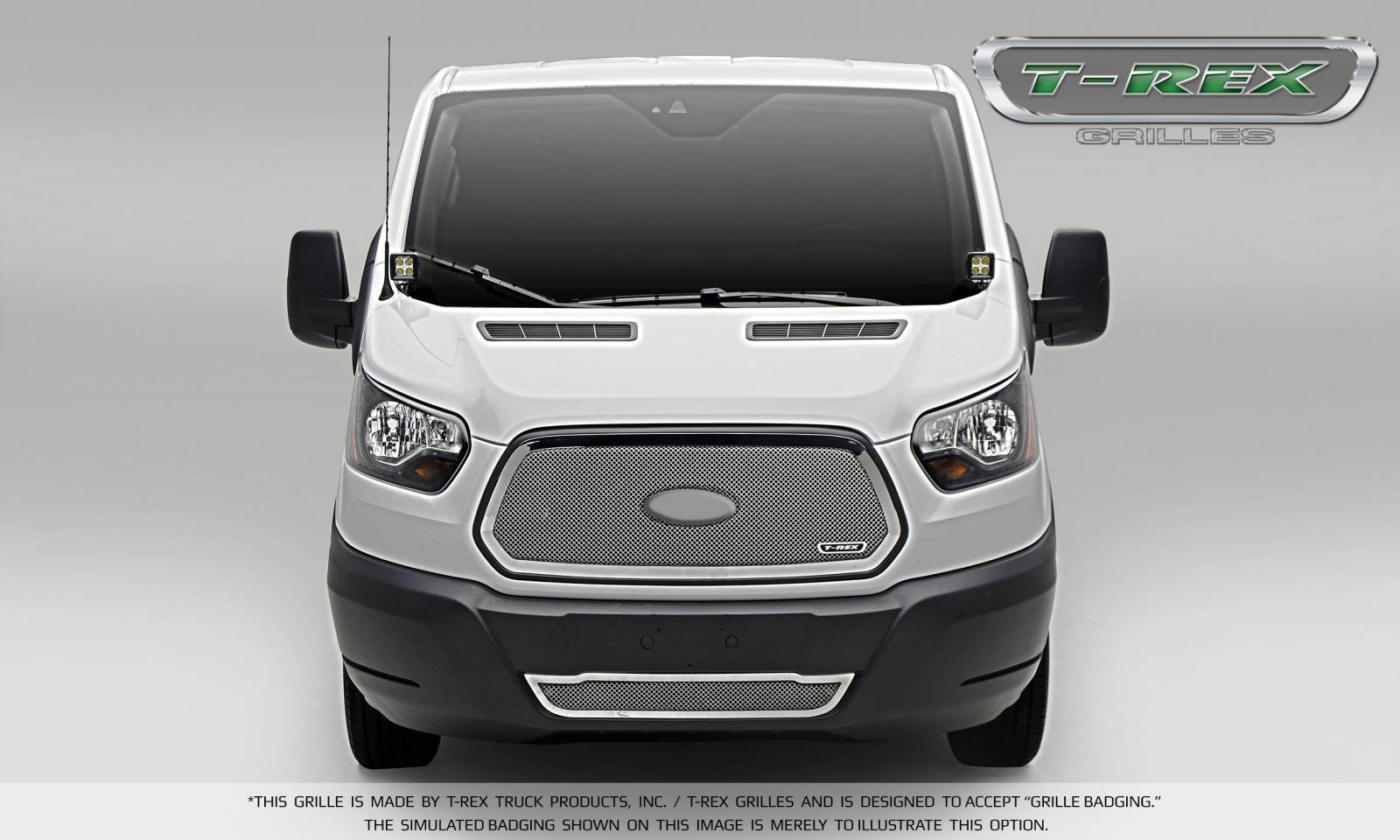 T-REX Grilles - 2016-2018 Ford Transit Upper Class Grille, Polished, 1 Pc, Insert - PN #54575