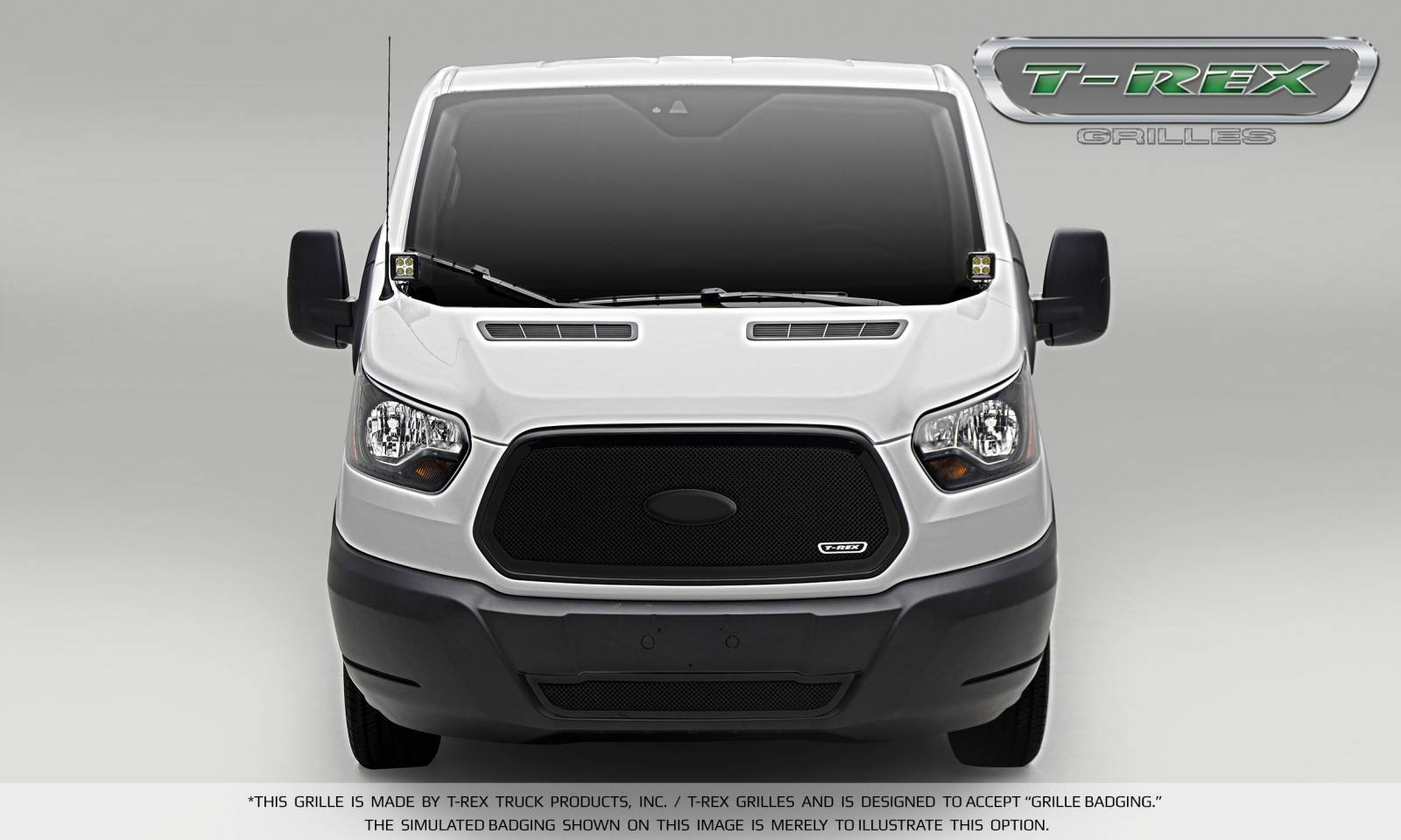T-REX Ford Transit Van - Upper Class - Main Grille - Insert w/ Logo - Black Finish - Pt # 51575
