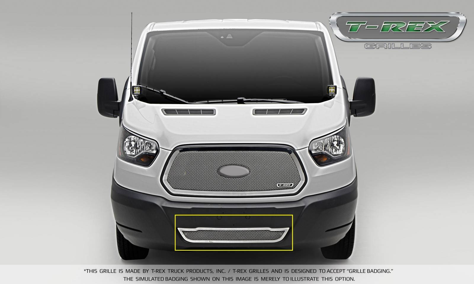 T-REX Grilles - 2016-2018 Ford Transit Upper Class Bumper Grille, Polished, 1 Pc, Overlay - PN #55575