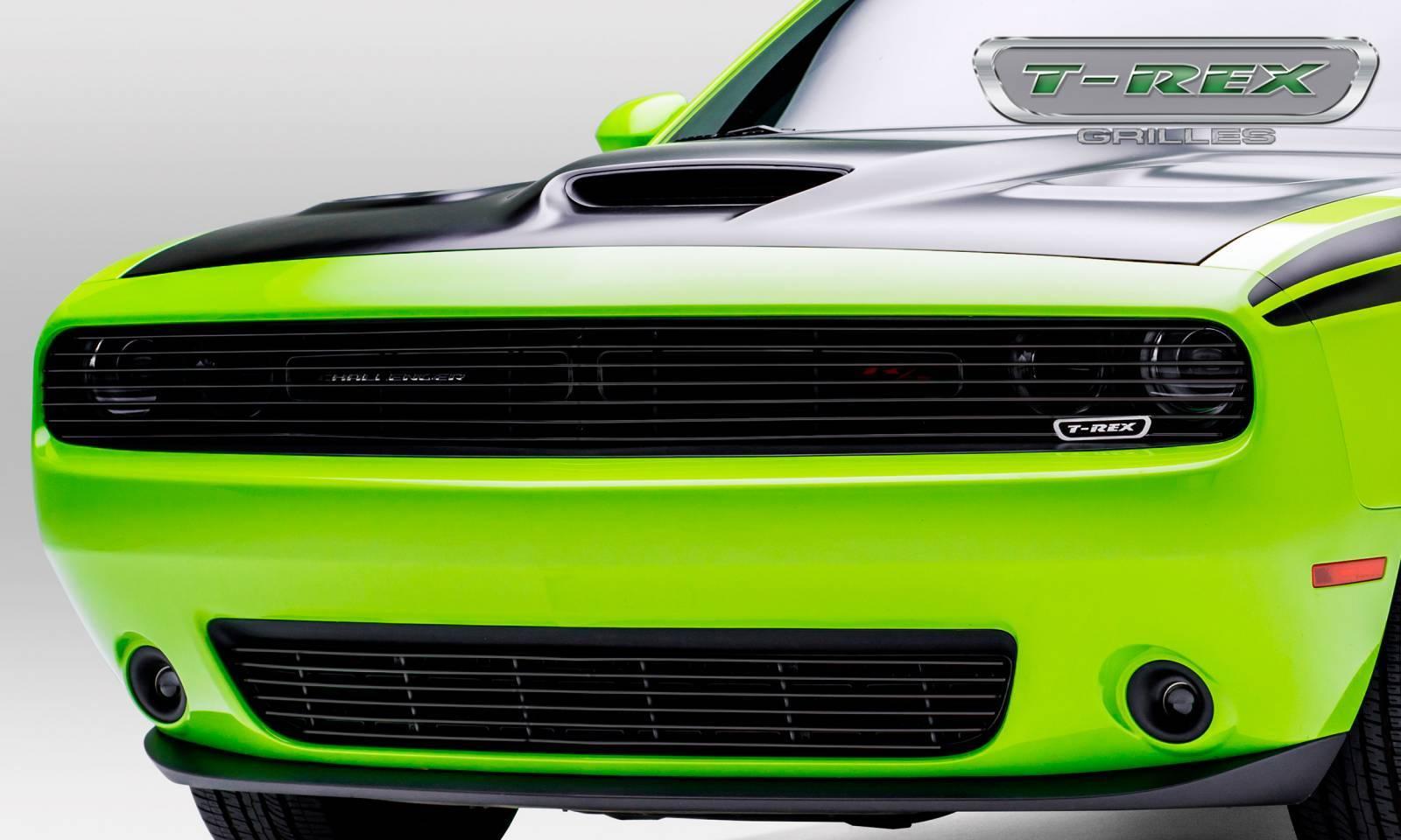 T-REX Grilles - Dodge Challenger - Black Powder Coated - Phantom Style - Laser Billet - Main Grille Overlay - Pt # 6214191