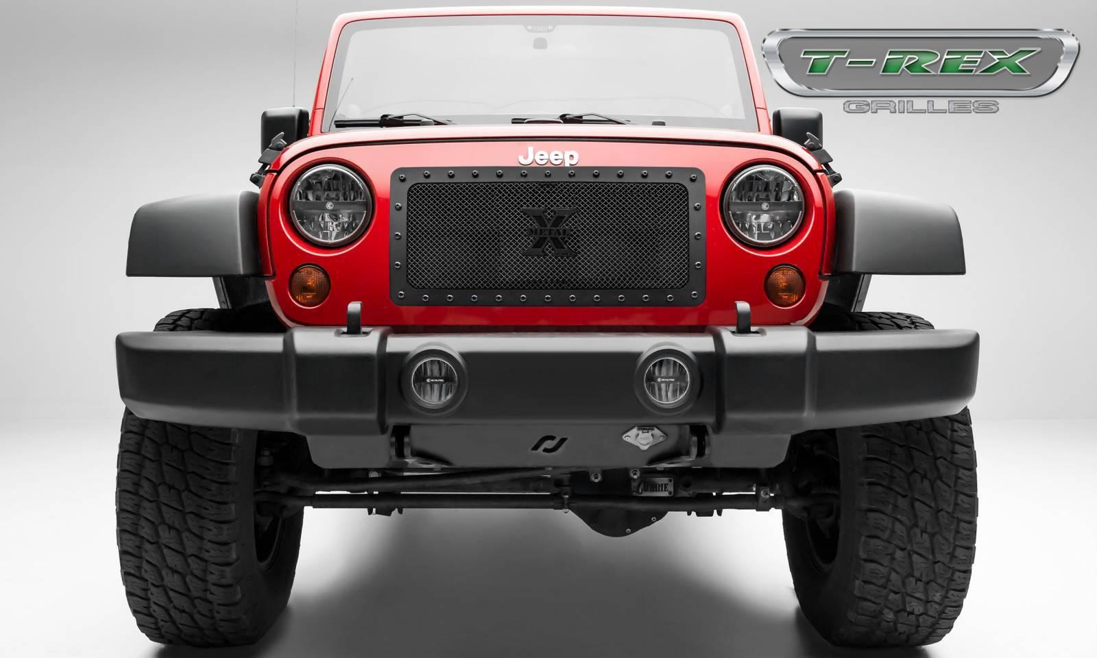 Jeep Wrangler X-METAL Series - Tactical Balck Studded Main Grille - ALL Black - 1 Pc Custom Cut Center Bars - Pt # 6714831-BR