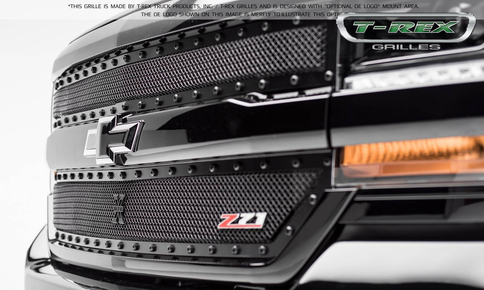 T-REX Grilles - Chevrolet Silverado 1500 X-METAL Series, STEALTH METAL - Blacked Out All Black, 2 Pc Main Grille Overlay - Fits Z71 Only - Pt # 6711241-BR