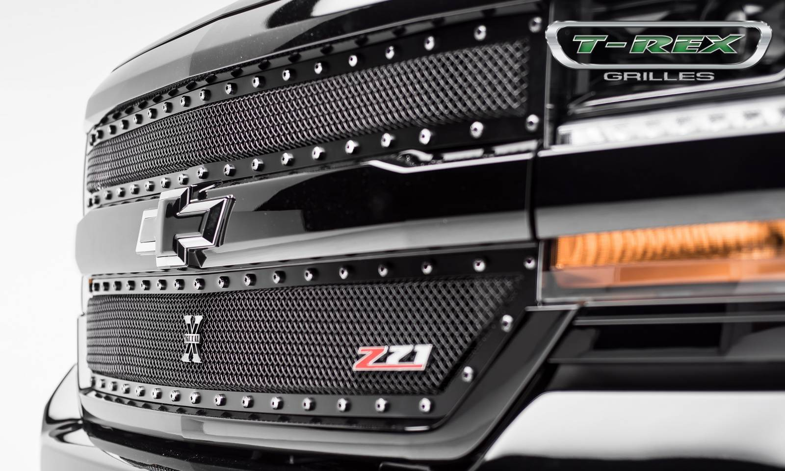 T-REX Chevrolet Silverado 1500 X-METAL Series, Powder Coated Black, 2 Pc Main Grille Overlay - Fits Z71 Only - Pt # 6711241
