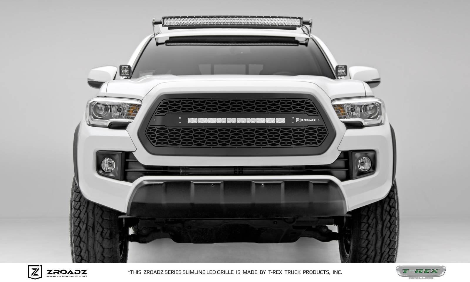T-REX Grilles - 2016-2017 Toyota Tacoma Main Grille, Including (1) 20 Inch ZROADZ LED Straight Single Row Slim Light Bar - Z319411