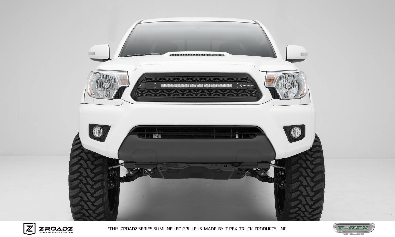T-REX Grilles - 2012-2015 Toyota Tacoma Main Grille, Including (1) 20 Inch ZROADZ LED Straight Single Row Slim Light Bar - Z319381
