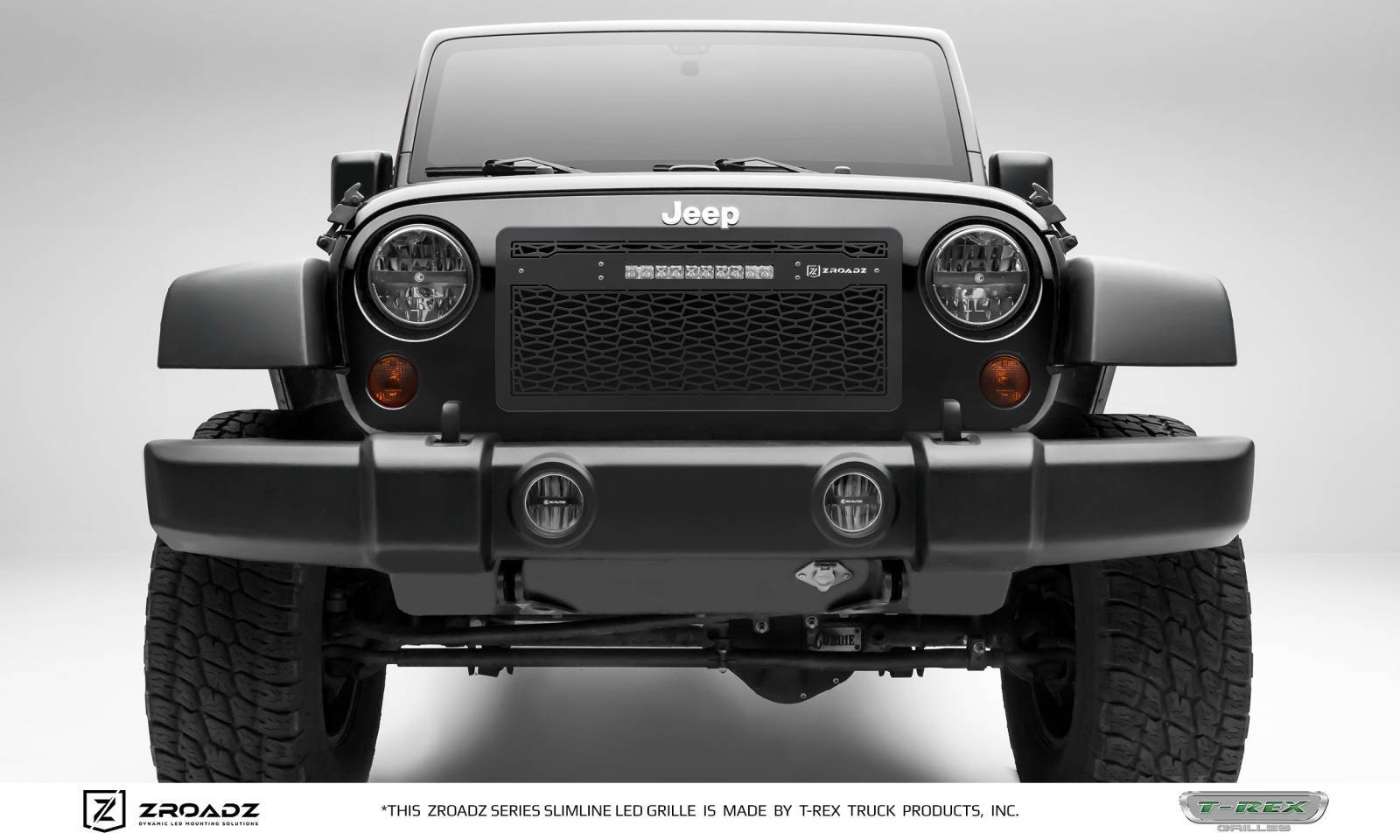 T-REX Grilles - 2007-2018 Jeep JK Main Grille, Including (1) 10 Inch ZROADZ LED Straight Single Row Slim Light Bar - Z314831-10C