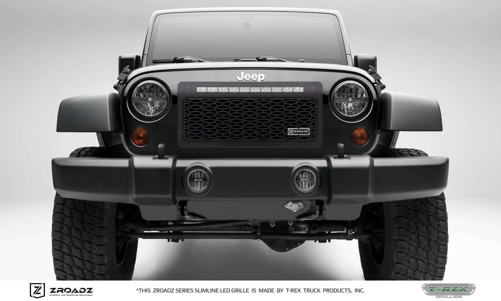 T-REX Grilles - 2007-2018 Jeep JK Main Grille, Including (1) 20 Inch ZROADZ LED Straight Single Row Slim Light Bar - Z314831-20T