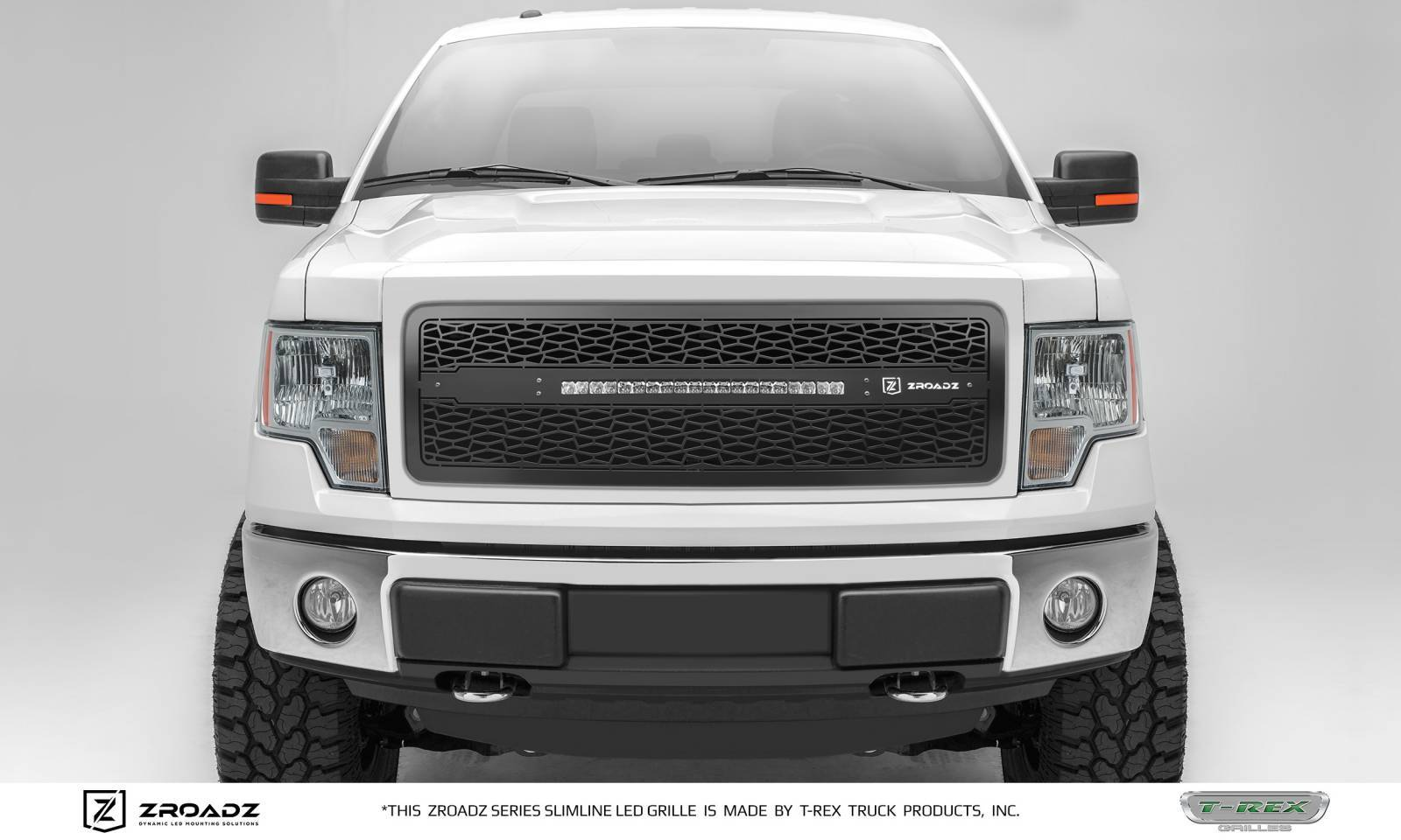 T-REX Grilles - 2013-2014 Ford F-150 Main Grille, Including (1) 20 Inch ZROADZ LED Straight Single Row Slim Light Bar - Z315721