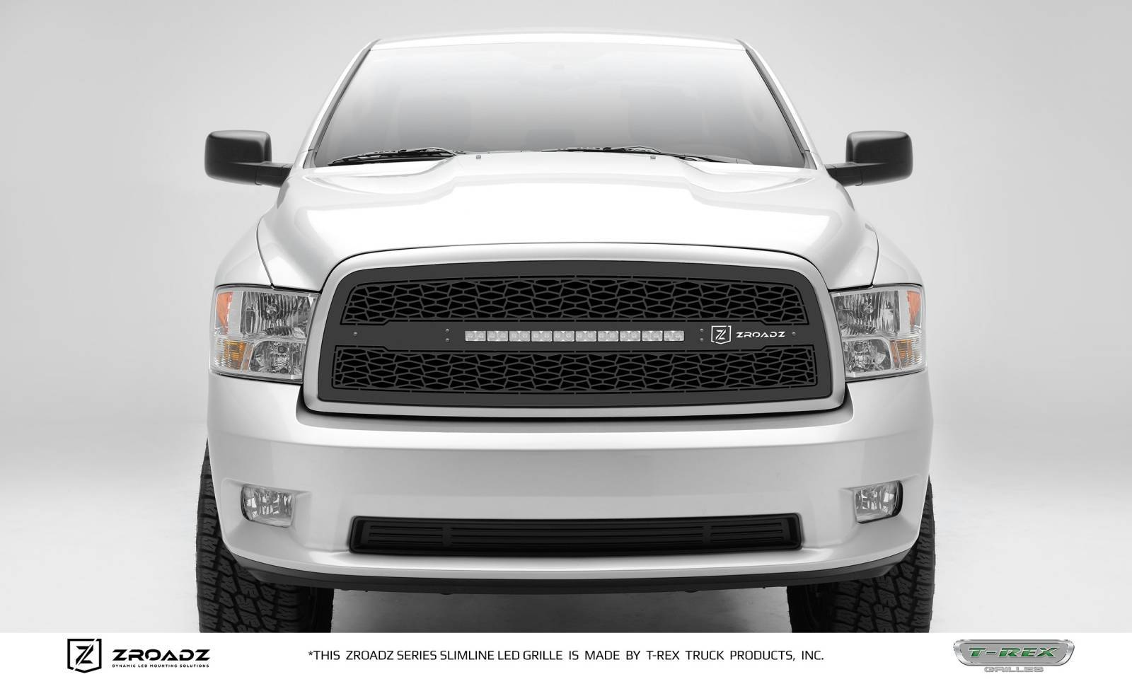 T-REX Grilles - 2009-2012 Ram 1500 Main Grille, Including (1) 20 Inch ZROADZ LED Straight Single Row Slim Light Bar - Z314571