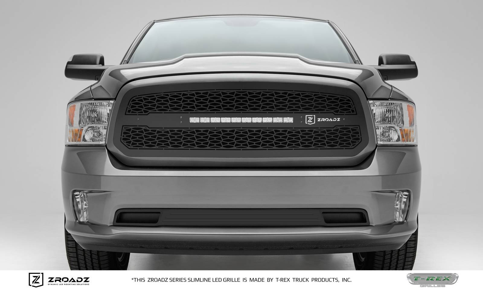 T-REX Grilles - 2013-2018 Ram 1500 Main Grille, Including (1) 20 Inch ZROADZ LED Straight Single Row Slim Light Bar - Z314581