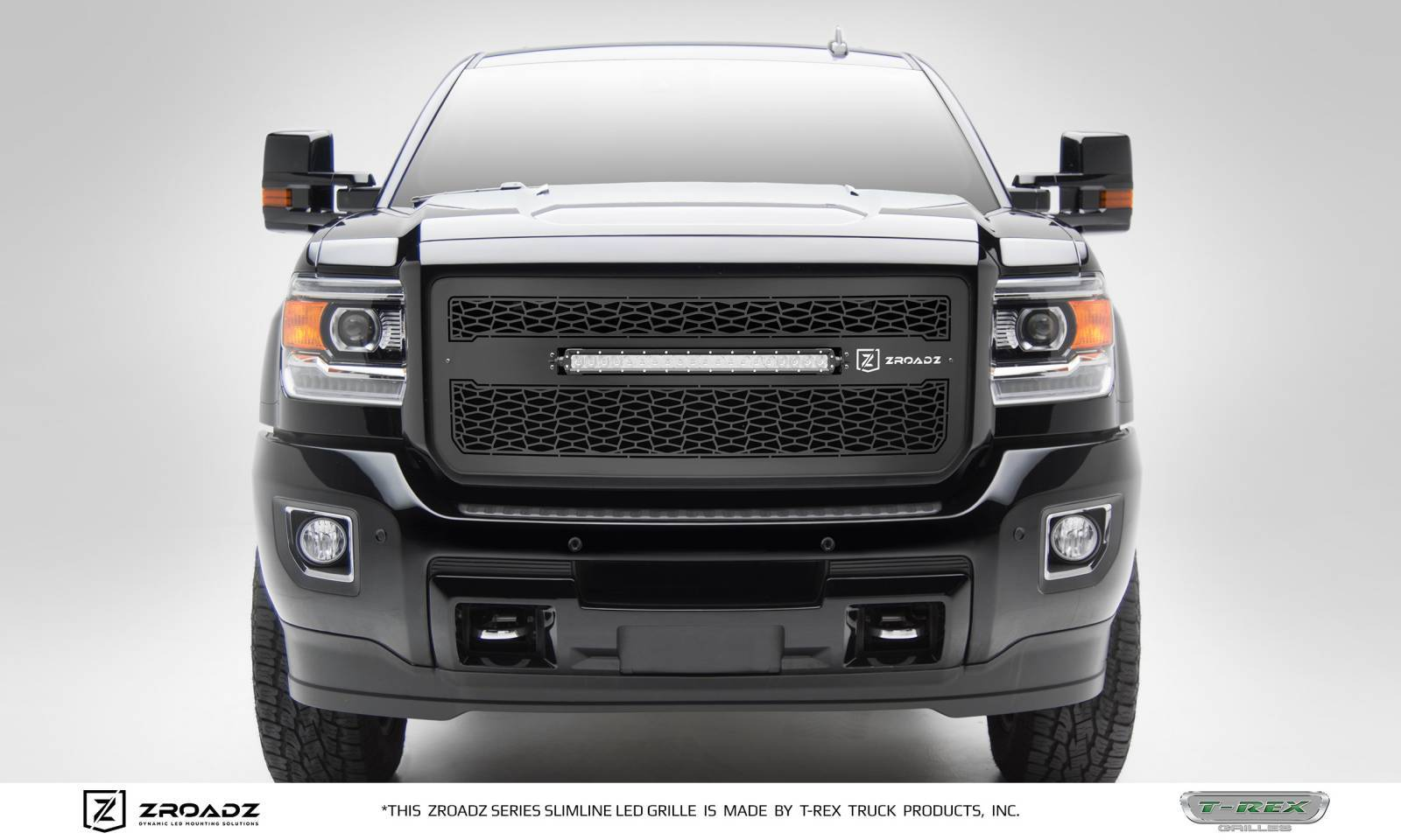 T-REX Grilles - 2015-2019 GMC Sierra 2500, 3500 Main Grille, Including (1) 20 Inch ZROADZ LED Straight Single Row Slim Light Bar - Z312111