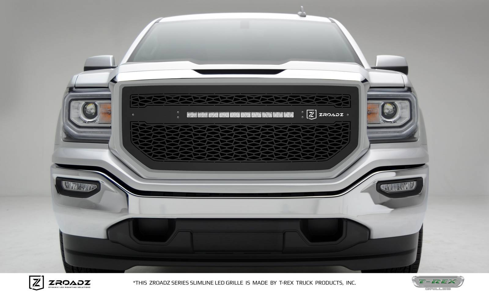 T-REX Grilles - 2016-2018 GMC  Sierra 1500 Main Grille, Including (1) 20 Inch ZROADZ LED Straight Single Row Slim Light Bar - Z312131