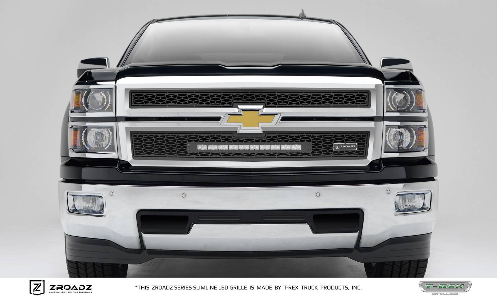 T-REX Grilles - 2014-2015 Chevrolet Silverado 1500 Main Grille, Including (1) 20 Inch ZROADZ LED Straight Single Row Slim Light Bar - Z311211