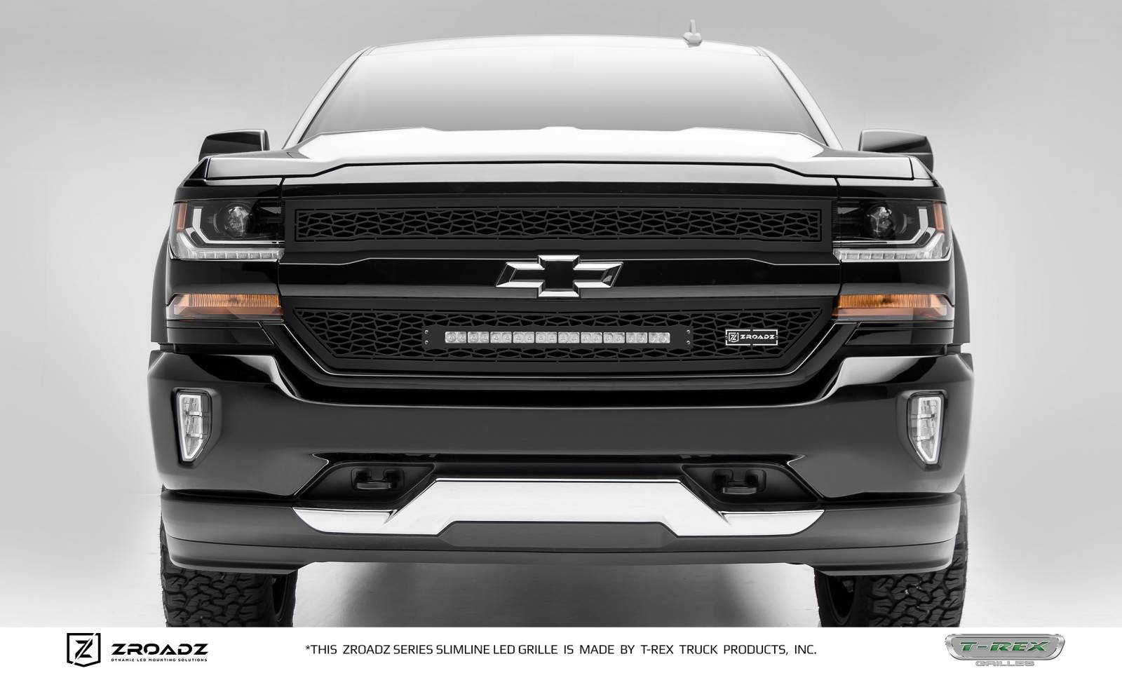 T-REX Chevrolet Silverado 1500 - ZROADZ Series - 2 PC Main Insert - Grille w/ One 20 Inch Slim Line Single Row LED Light Bar - Includes Universal Wiring Harness - Part# Z311281