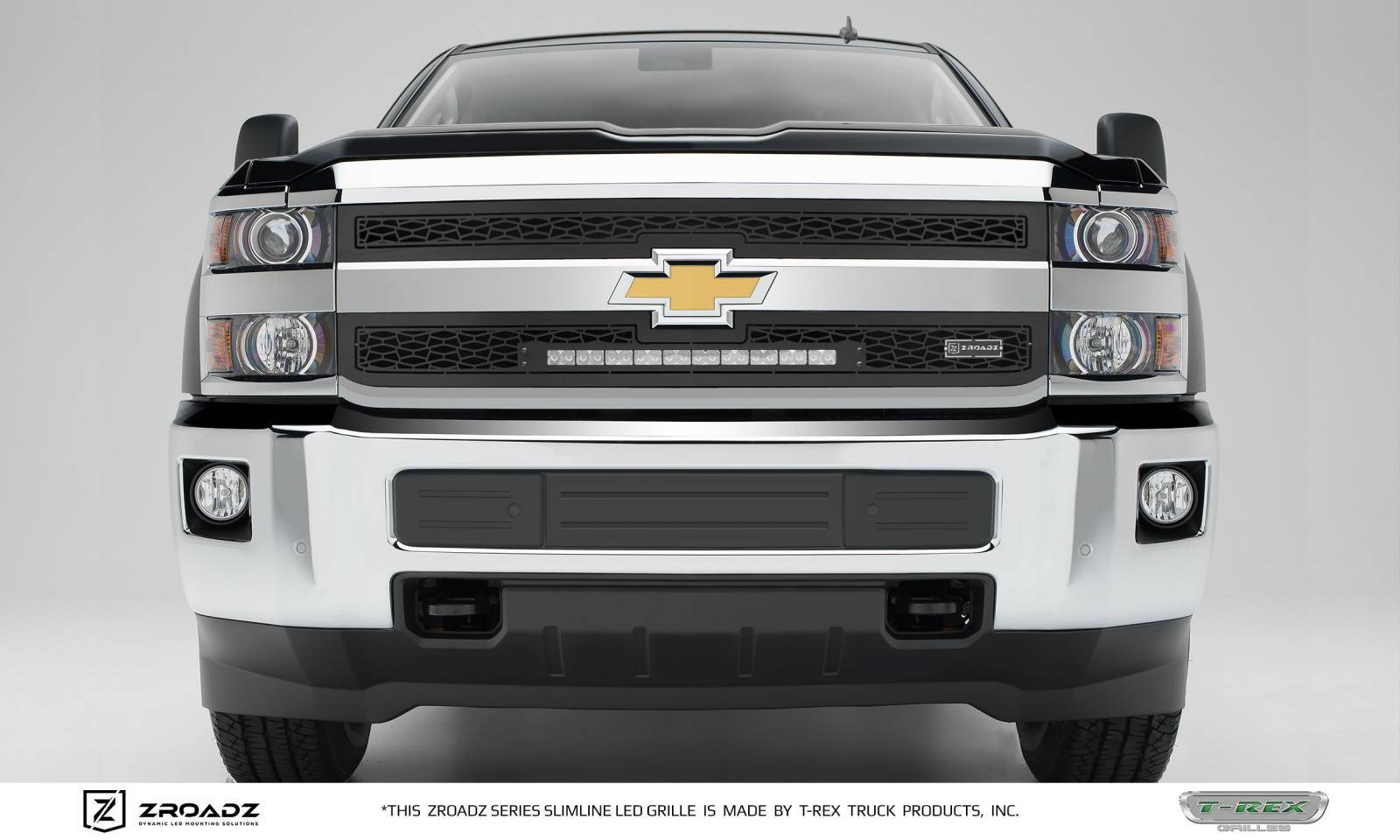 T-REX Chevrolet Silverado 2500/3500 HD - ZROADZ Series - Main 2 PC Insert - Grille w/ One 20 Inch Slim Line Single Row LED Light Bar - Includes Universal Wiring Harness - Part# Z311221
