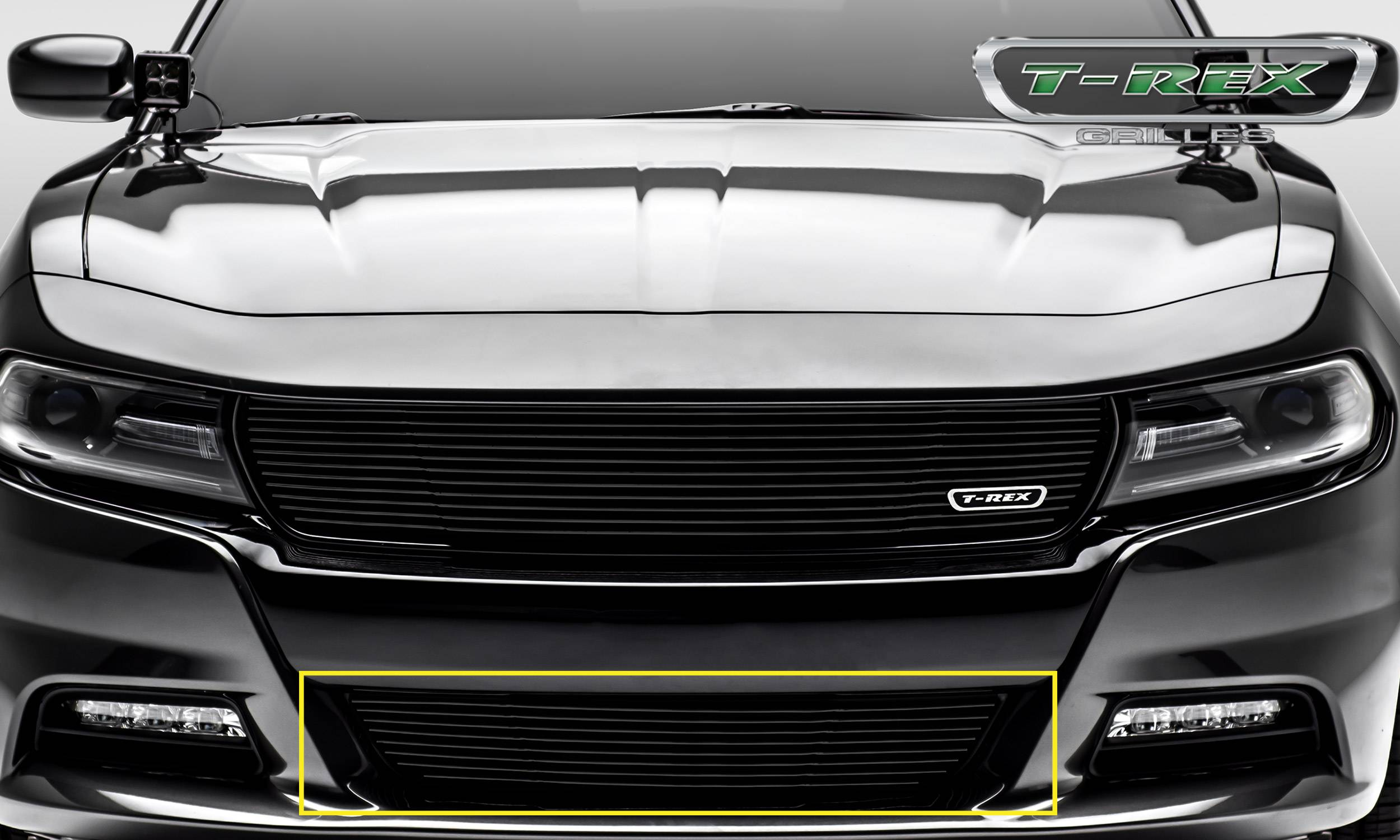 T-REX Dodge Charger - Laser Billet w/ 3-D Conturing - 1 Pc Bumper Grille - Overlay - Black Finish - Pt # 6224761