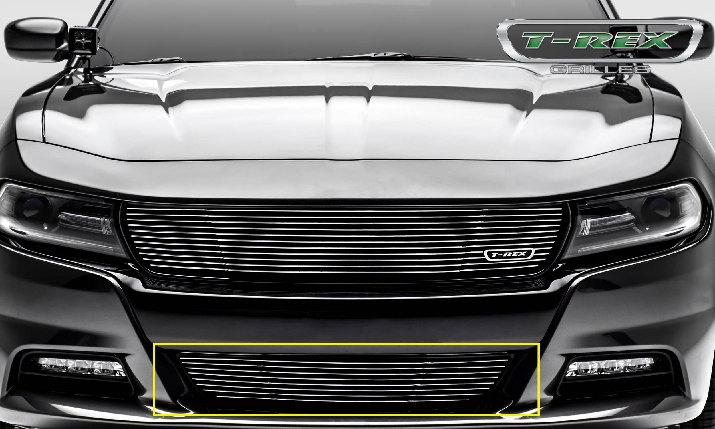 T-REX Dodge Charger - Laser Billet w/ 3-D Conturing - 1 Pc Bumper Grille - Overlay - Polished Finish - Pt # 6224760