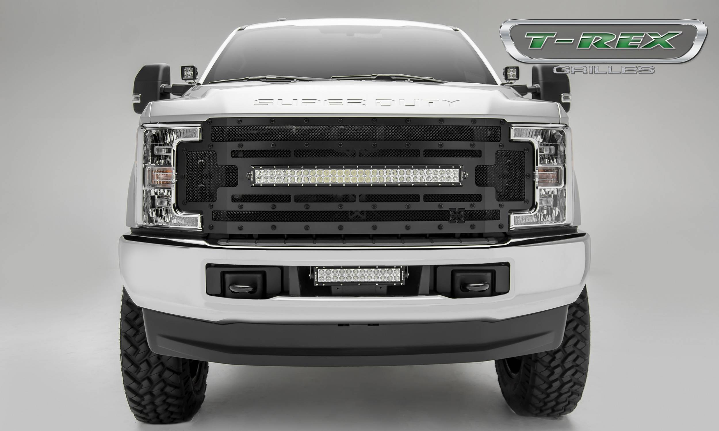 "T-REX Ford F-250 / F-350 Super Duty - STEALTH TORCH - Main Replacement Grille - (1) 30"" Curved LED Light Bar - Steel Frame w/ Wire Mesh - Black Studded with Black Powdercoat Finish - Pt # 6315471-BR"