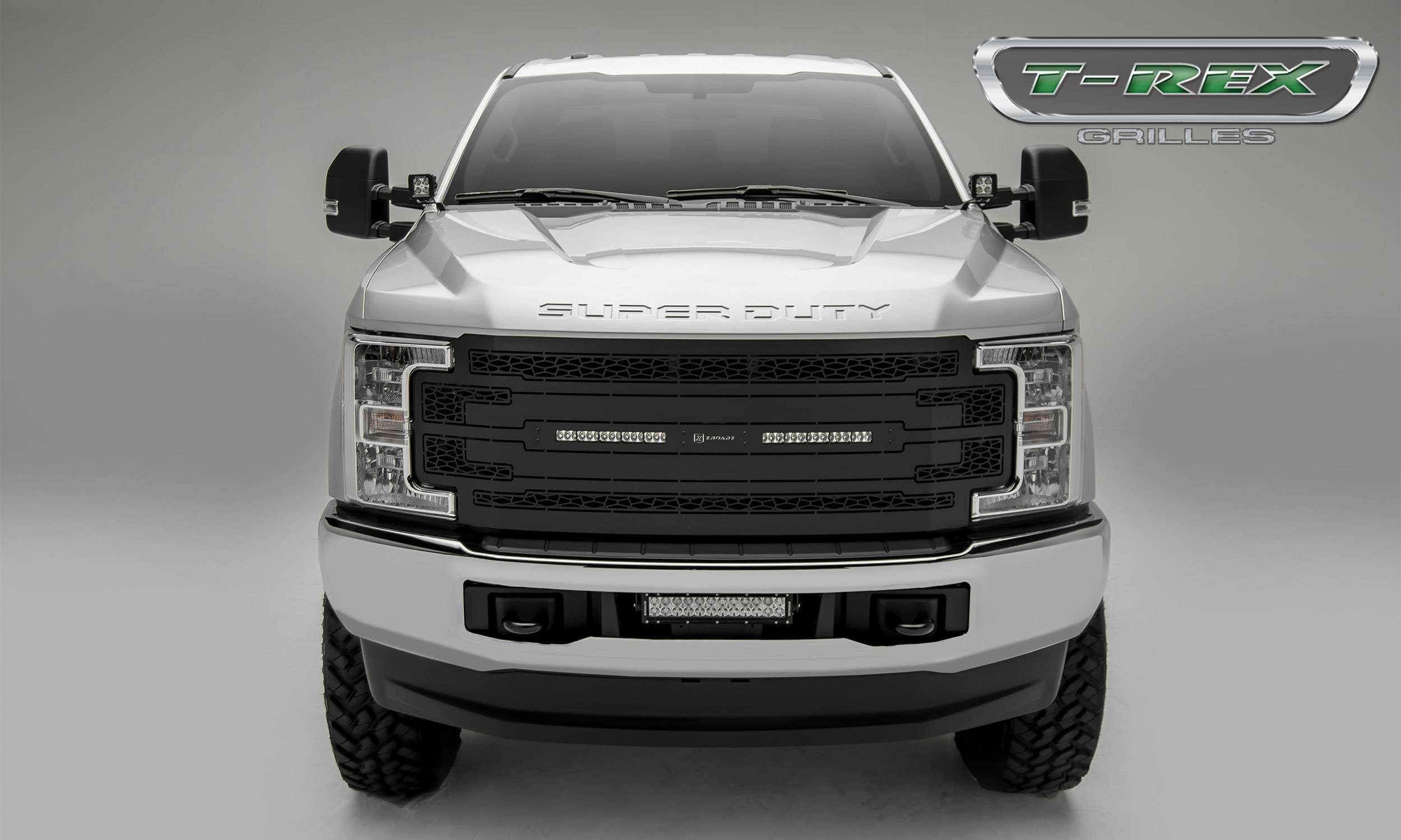 T-REX Grilles - 2017-2019 Ford Super Duty Main Grille, Including (2) 10 Inch ZROADZ LED Straight Single Row Slim Light Bars - Z315471