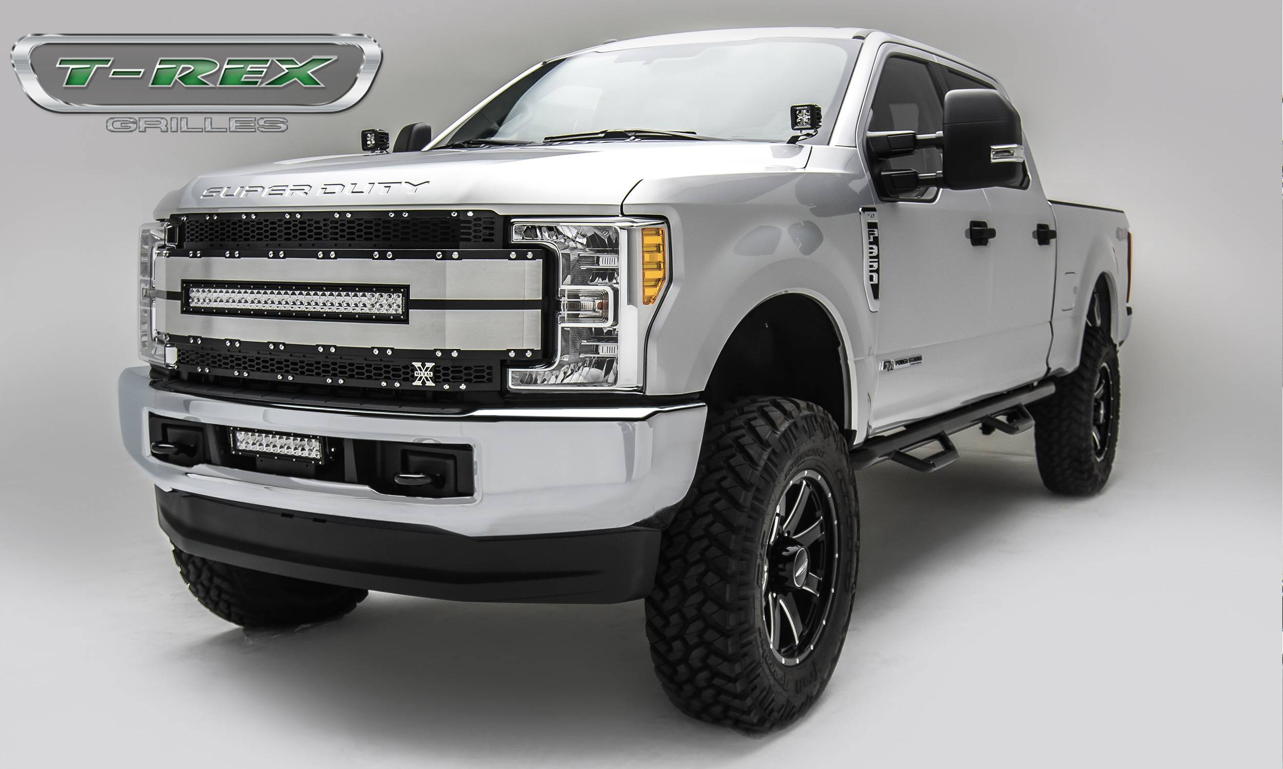 "T-REX Grilles - 2017-2019 Super Duty Torch AL Grille, Black Mesh Brushed Trim, 1 Pc, Replacement, Chrome Studs, Incl. (1) 30"" LED - PN #6315483"