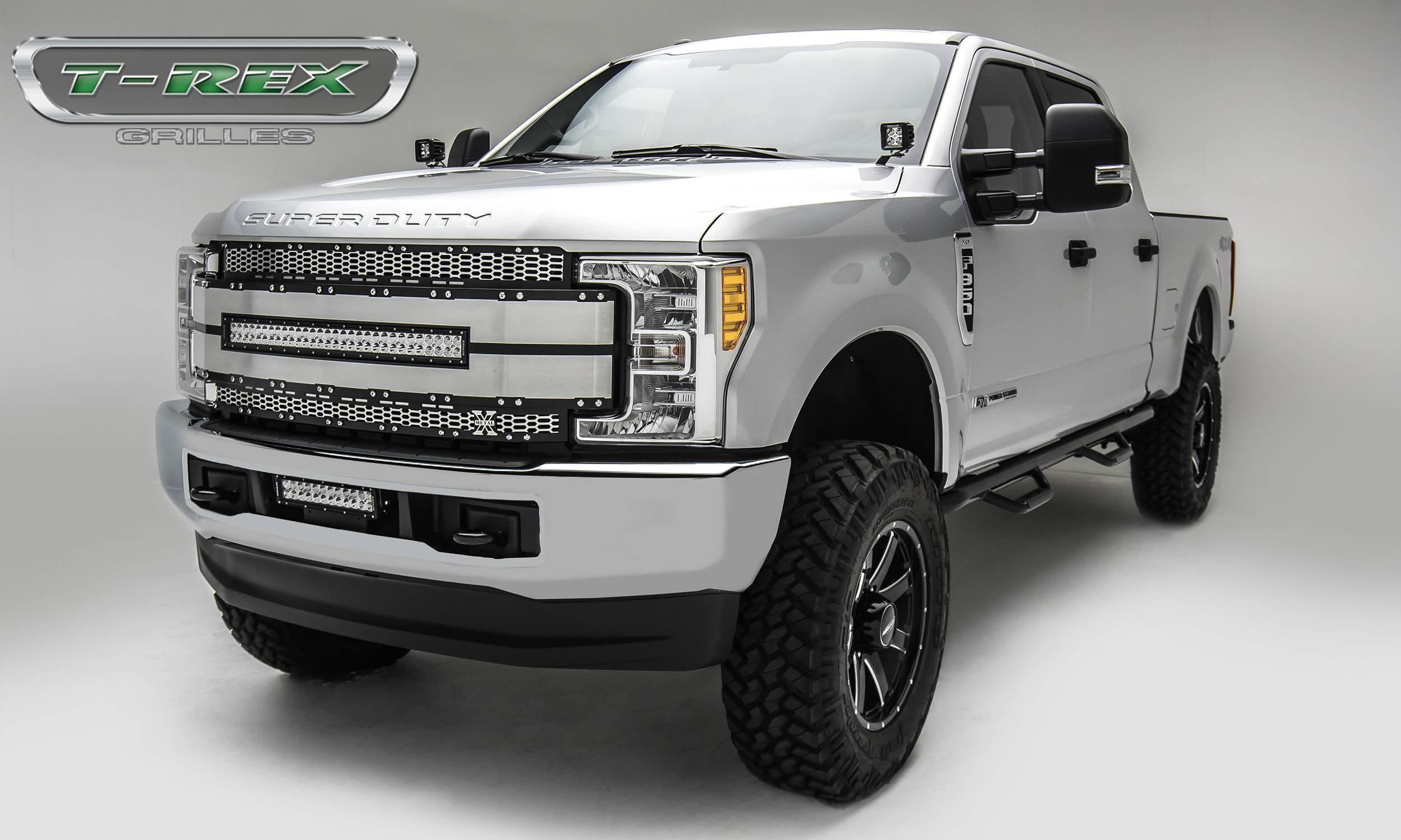 "T-REX Grilles - 2017-2019 Super Duty Torch AL Grille, Black with brushed aluminum mesh and trim, 1 Pc, Replacement, Chrome Studs, Incl. (1) 30"" LED - PN #6315485"