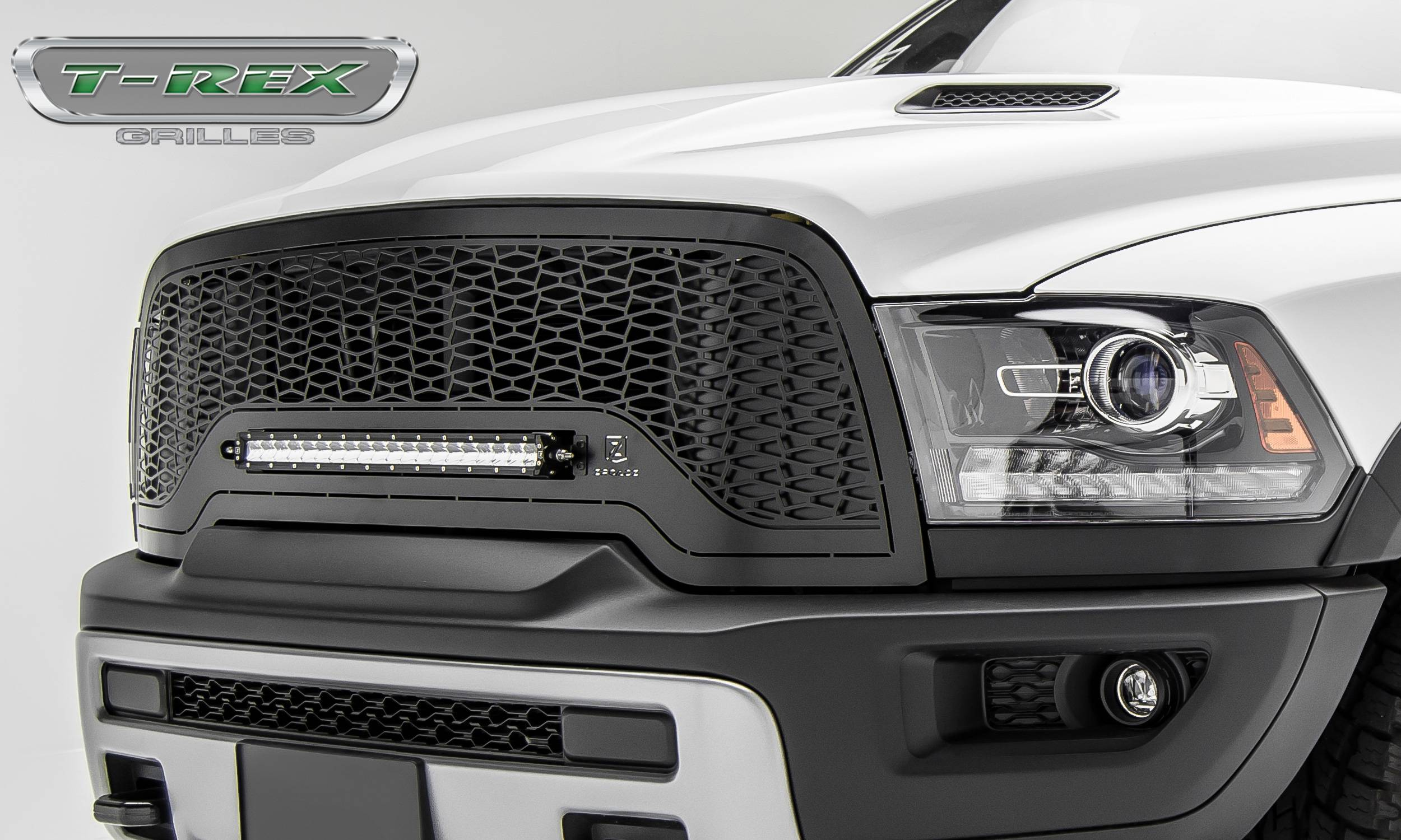 T-REX Grilles - 2015-2018 Ram 1500 Rebel Main Grille, Including (1) 20 Inch ZROADZ LED Straight Single Row Slim Light Bar - Z314551