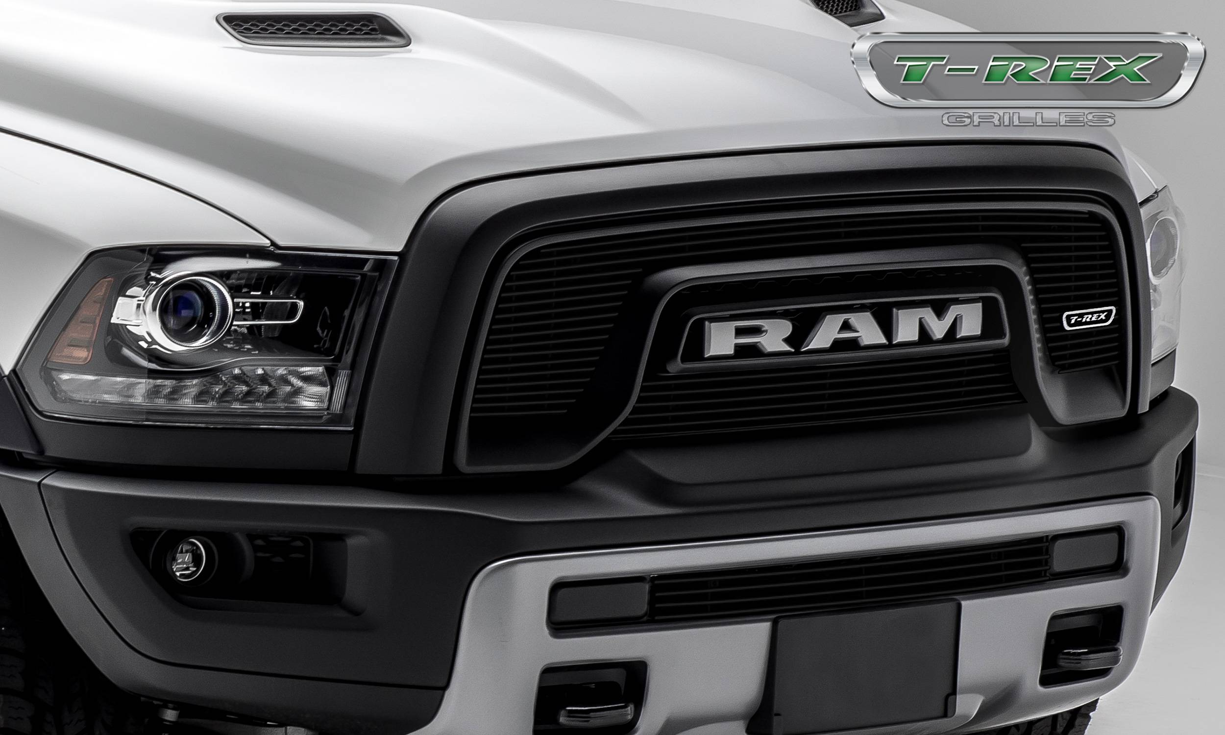 T-REX Grilles - T-REX Ram Rebel - Billet Series - 2 Pc. Main Grille Overlay - Laser Cut Aluminum w/ Black Powder Coated Finish - Part #6214641
