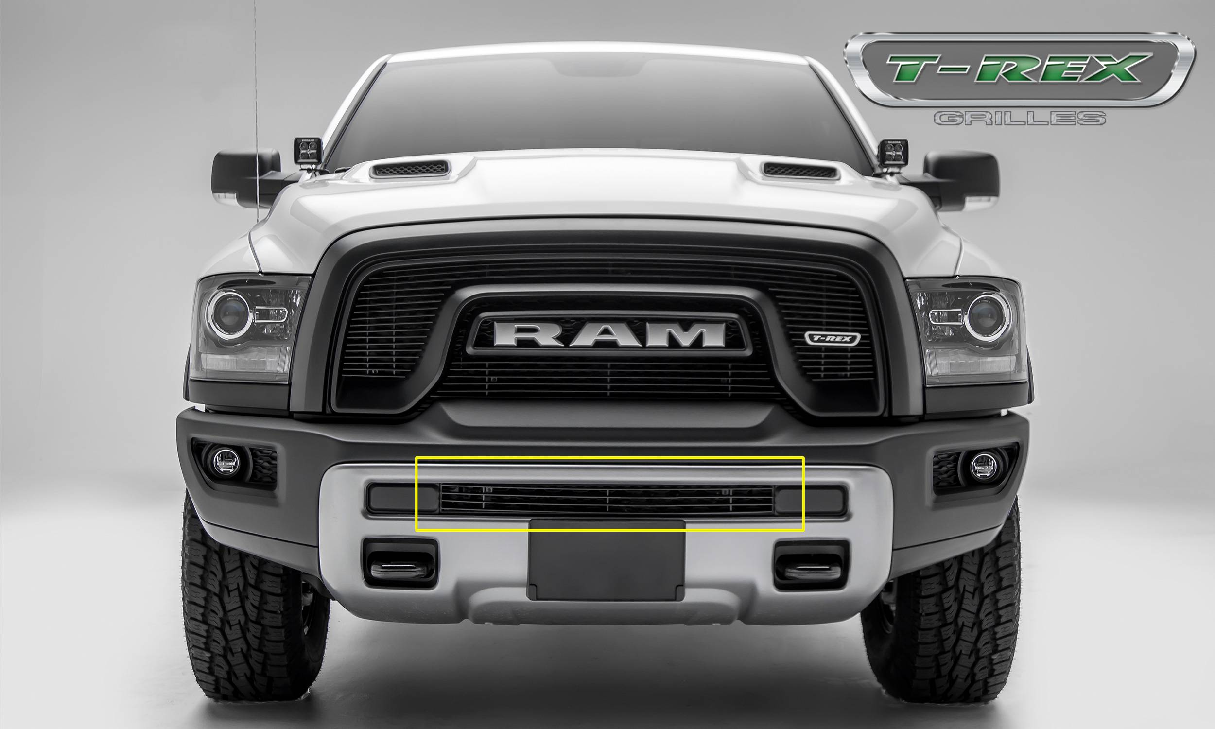 T-REX Ram Rebel - Billet Series - Bumper Grille Overlay - Aluminum w/ Black Powder Coated Finish - Part #254641B