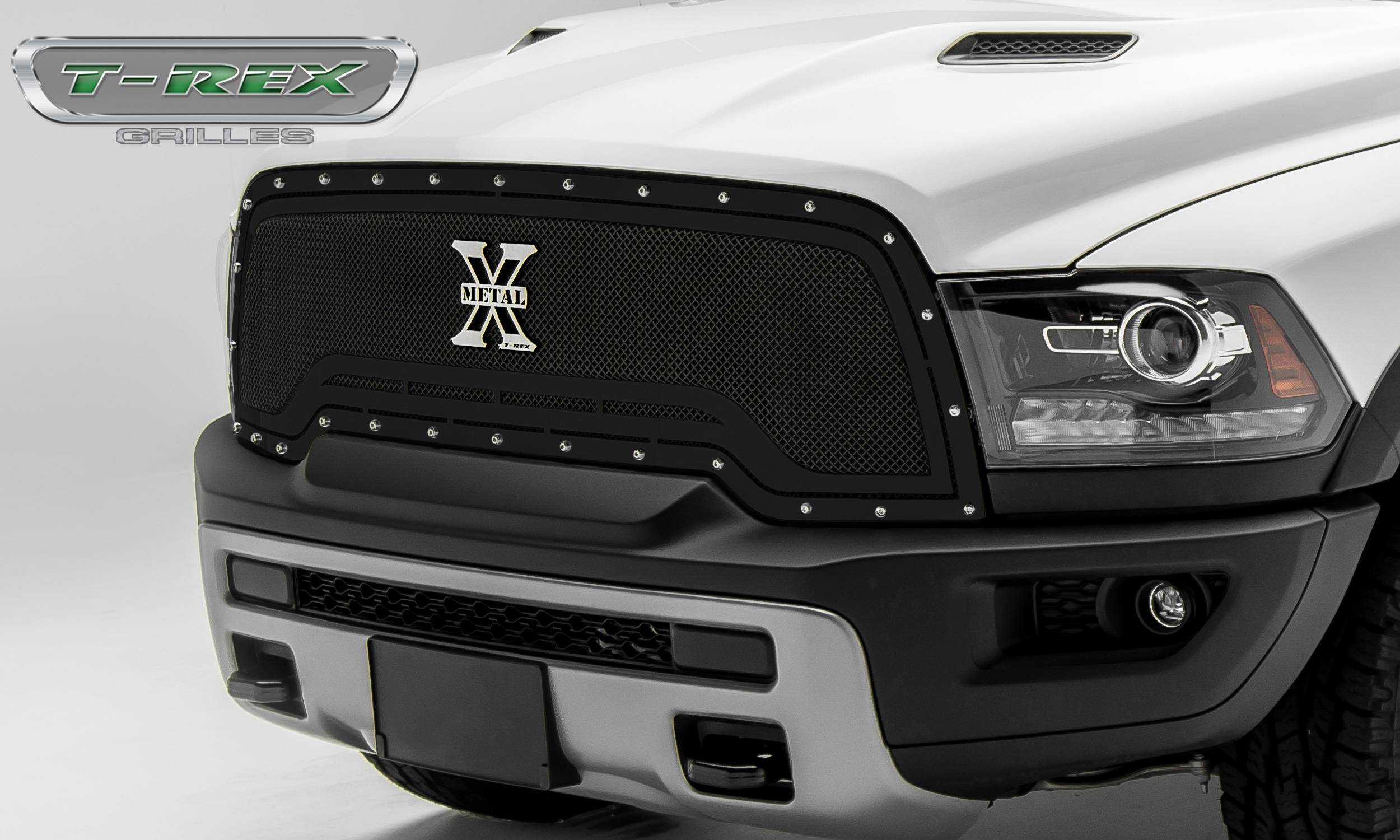 T-REX Grilles - T-REX Ram Rebel - X-METAL Series - Main Grille Replacement - Steel Frame w/ Wire Mesh - Studded with Black Powdercoat Finish - Part #6714641