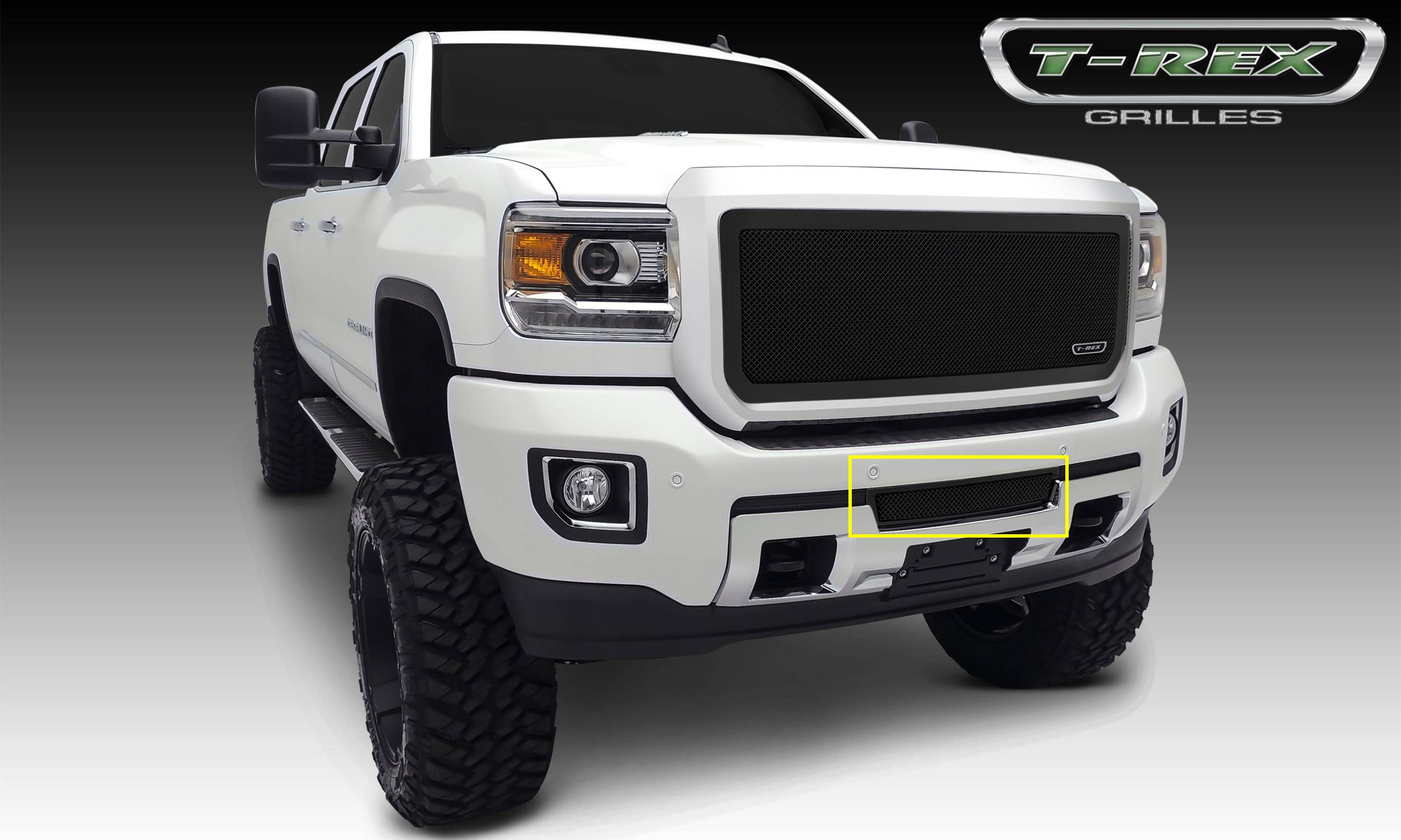 T-REX GMC Sierra HD Upper Class, Formed Mesh Grille, Bumper, Insert, 1 Pc, Black Powdercoated Mild Steel - Pt # 52211