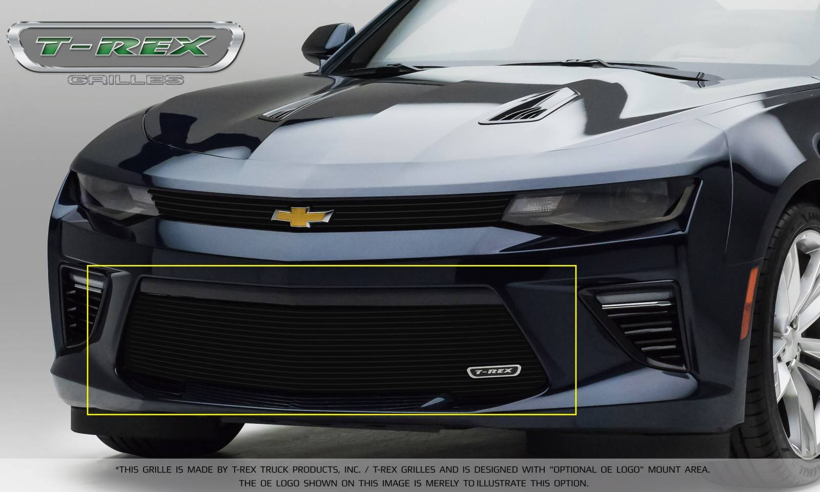 T-REX Chevrolet Camaro V6 Model - Billet Series - Bumper Grille Overlay with Black Powder Coated Finish - Pt # 25033B