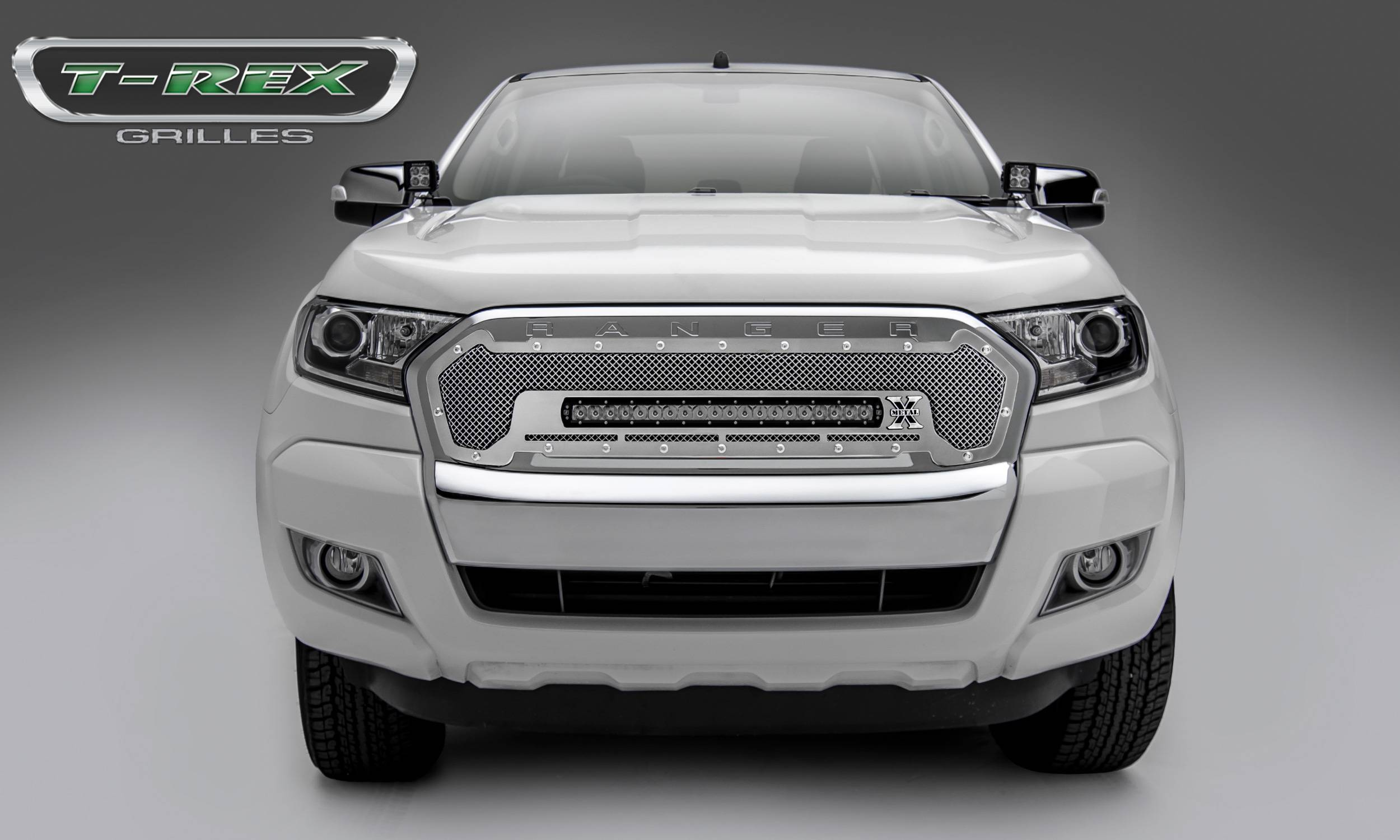 T-REX Ford Ranger T6 -Torch Series - Main Replacement - Grille w/ One 20 Inch Slim Line Single Row LED Light Bar, Polished Stainless Steel - Includes Universal Wiring Harness - Part# 6315760