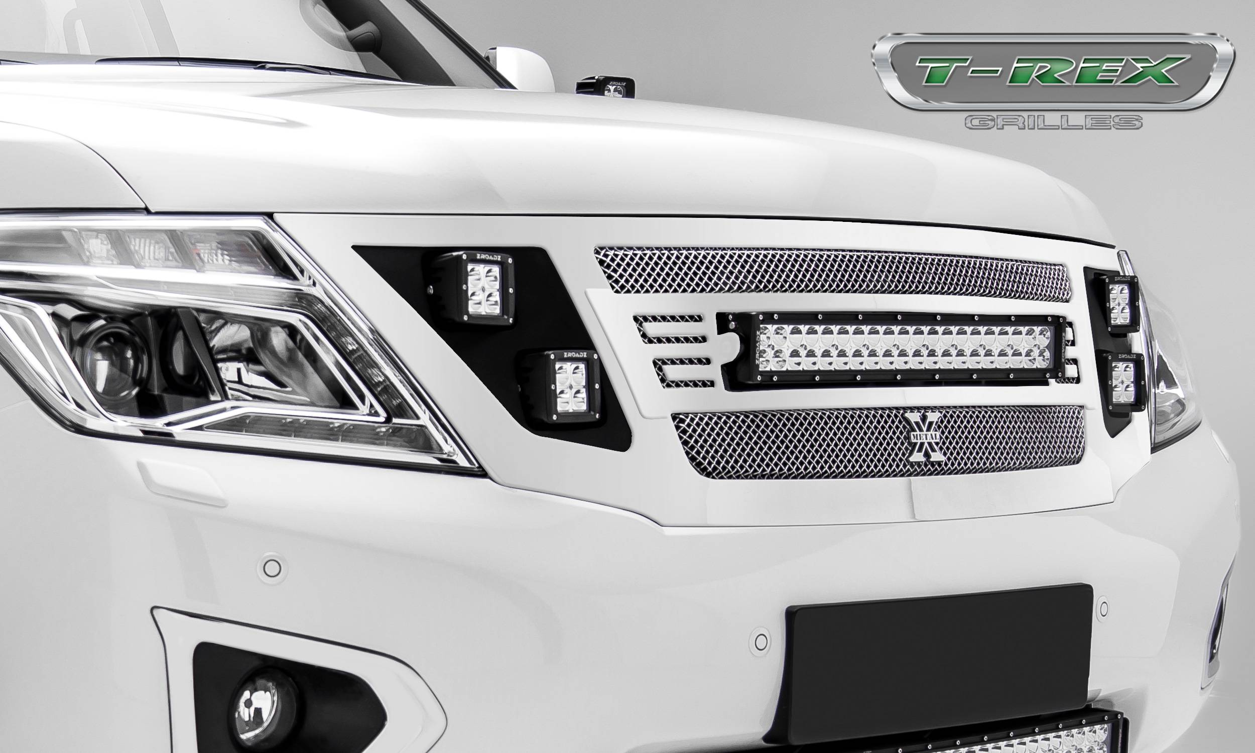 "T-REX Grilles - 2010-2018 Nissan Patrol Y62 Torch Grille, Polished, 1 Pc, Replacement, Chrome Studs, Incl. (1) 20"" LED and (4) 3"" Cube Lights  - PN #6317870"