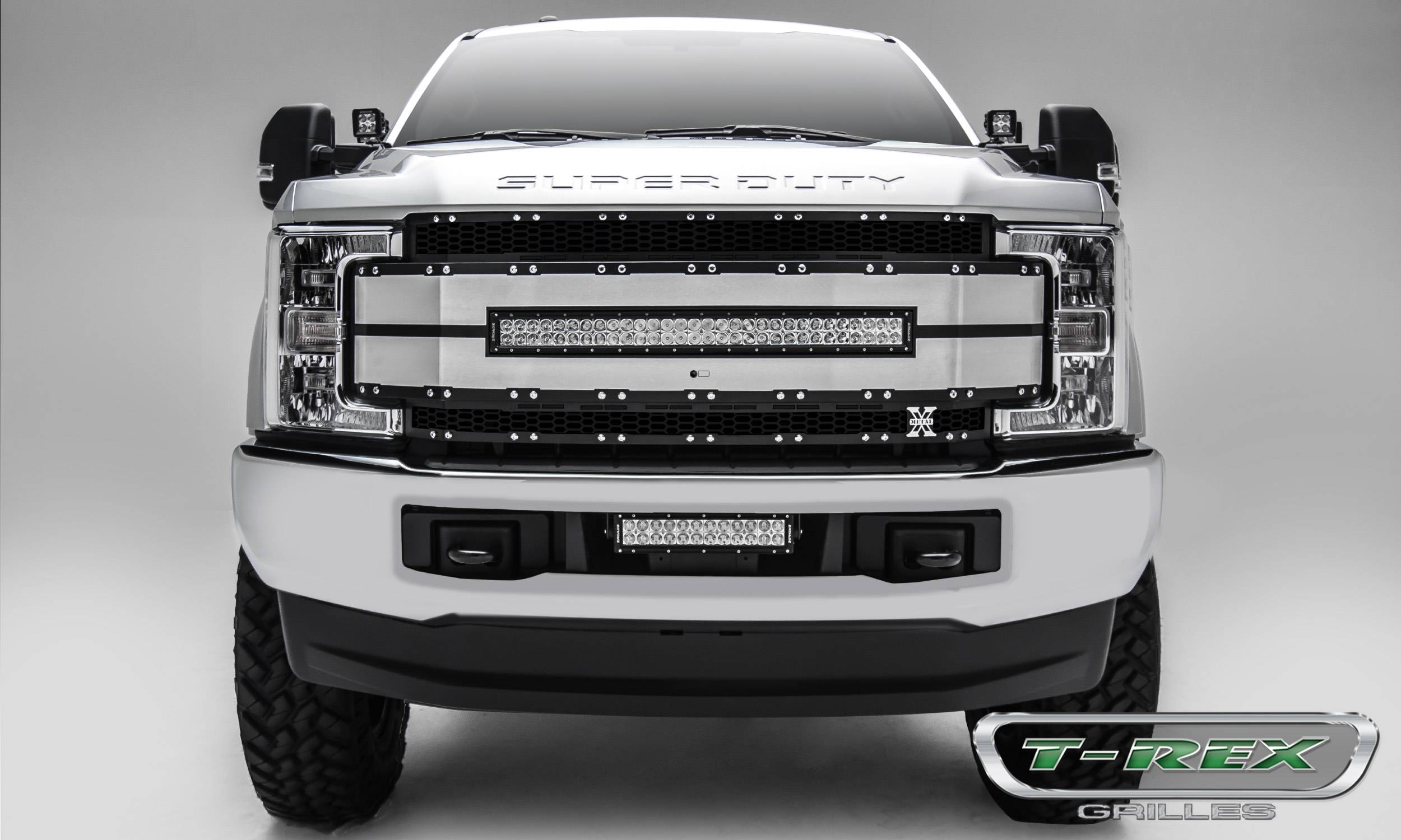 "T-REX Ford F-250 / F-350 Super Duty w/ Camera Provision - TORCH-AL Series - Main Replacement Grille - (1) 30"" LED Light Bar - Black w/ Black Mesh & Brushed Aluminum & Trim - Pt # 6315493"