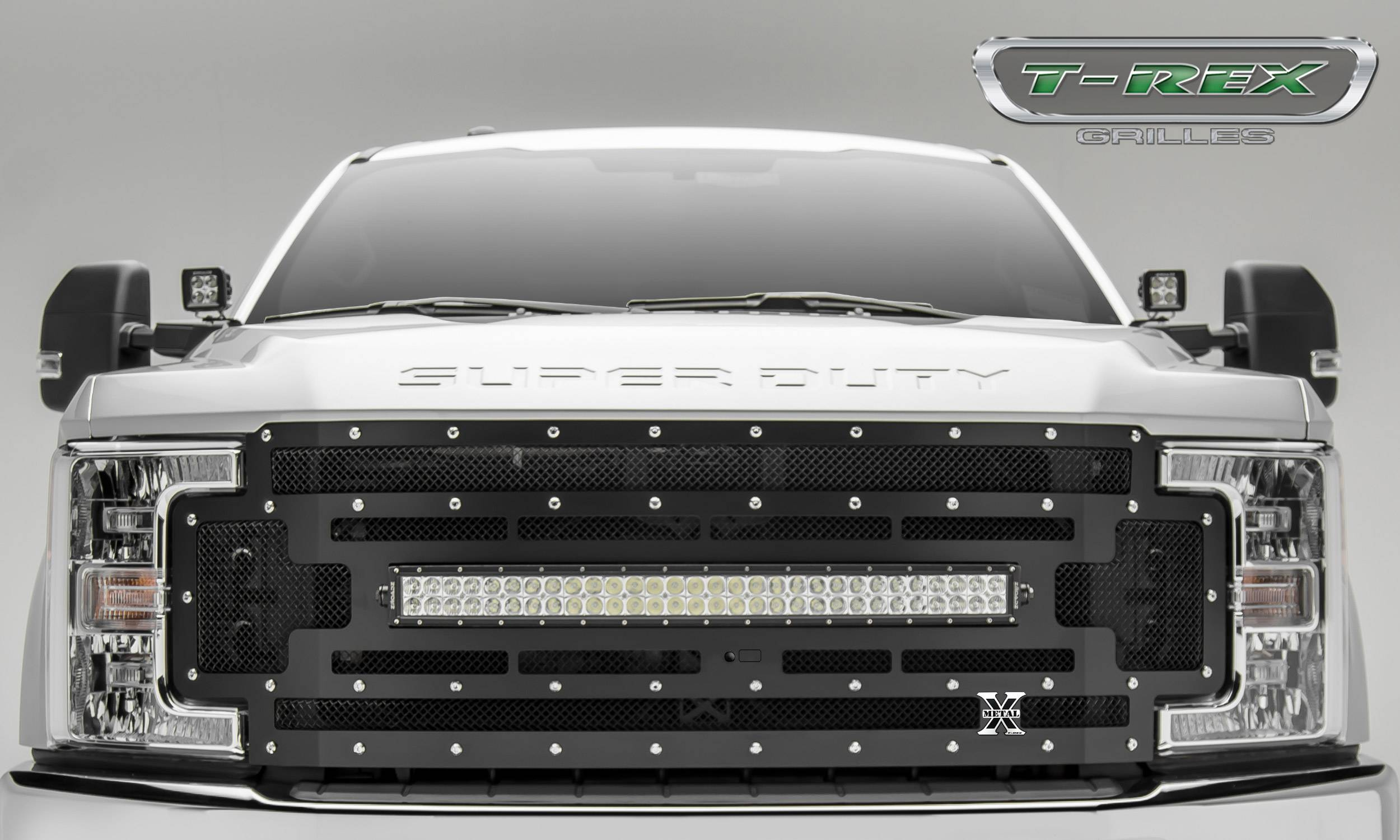 "T-REX Ford F-250 / F-350 Super Duty w/ Camera Provision - TORCH Series - Main Replacement Grille - (1) 30"" Curved LED Light Bar - Steel Frame w/ Wire Mesh - Studded with Black Powdercoat Finish - Pt # 6315371"