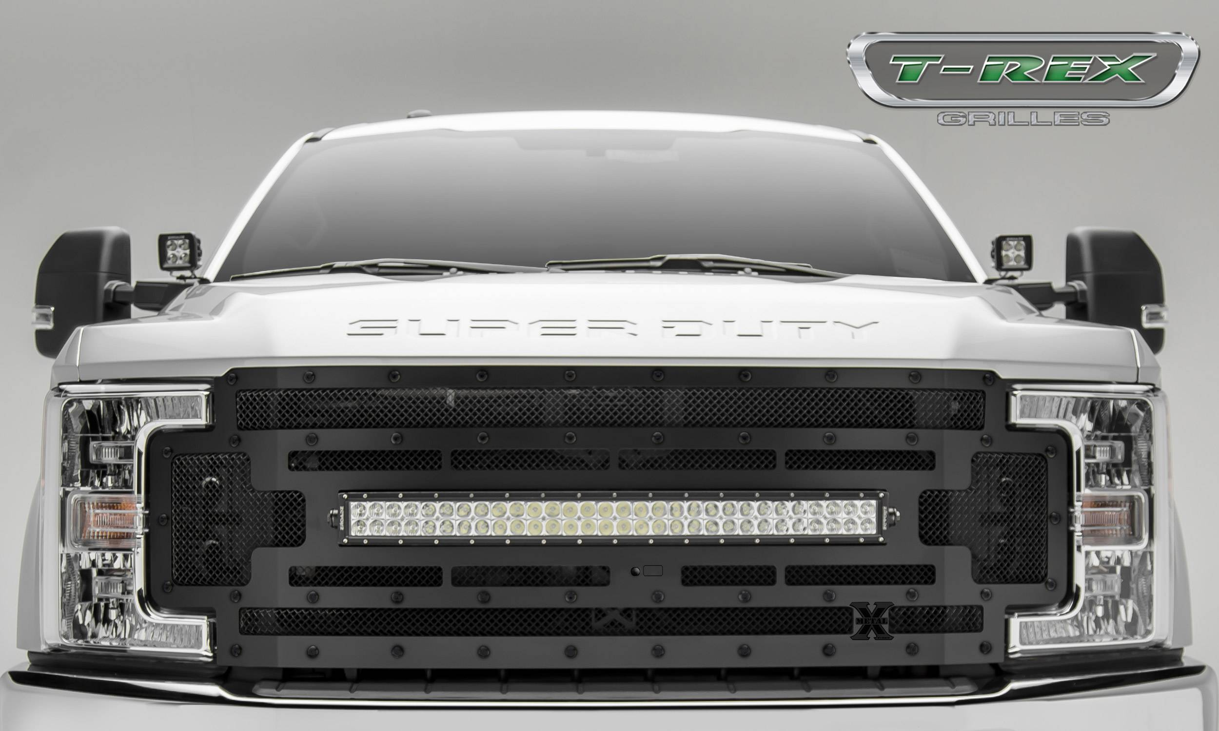 "T-REX Grilles - T-REX Ford Super Duty  w/ Camera Provision - STEALTH TORCH - Main Replacement Grille - (1) 30"" Curved LED Light Bar - Pt # 6315371-BR"