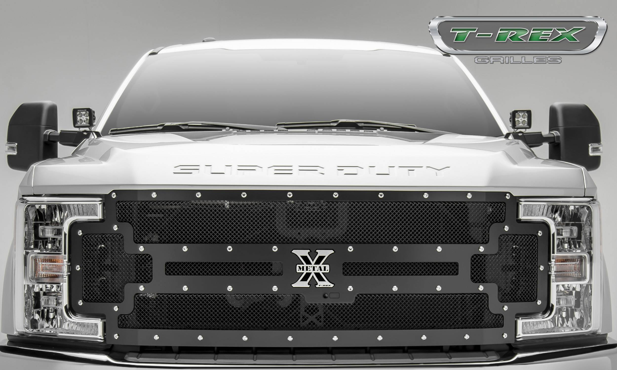 T-REX Ford F-250 / F-350 Super Duty w/ Camera Provision - X-METAL - Main Replacement Grille - Steel Frame w/ Wire Mesh - Studded with Black Powdercoat Finish - Pt # 6715371