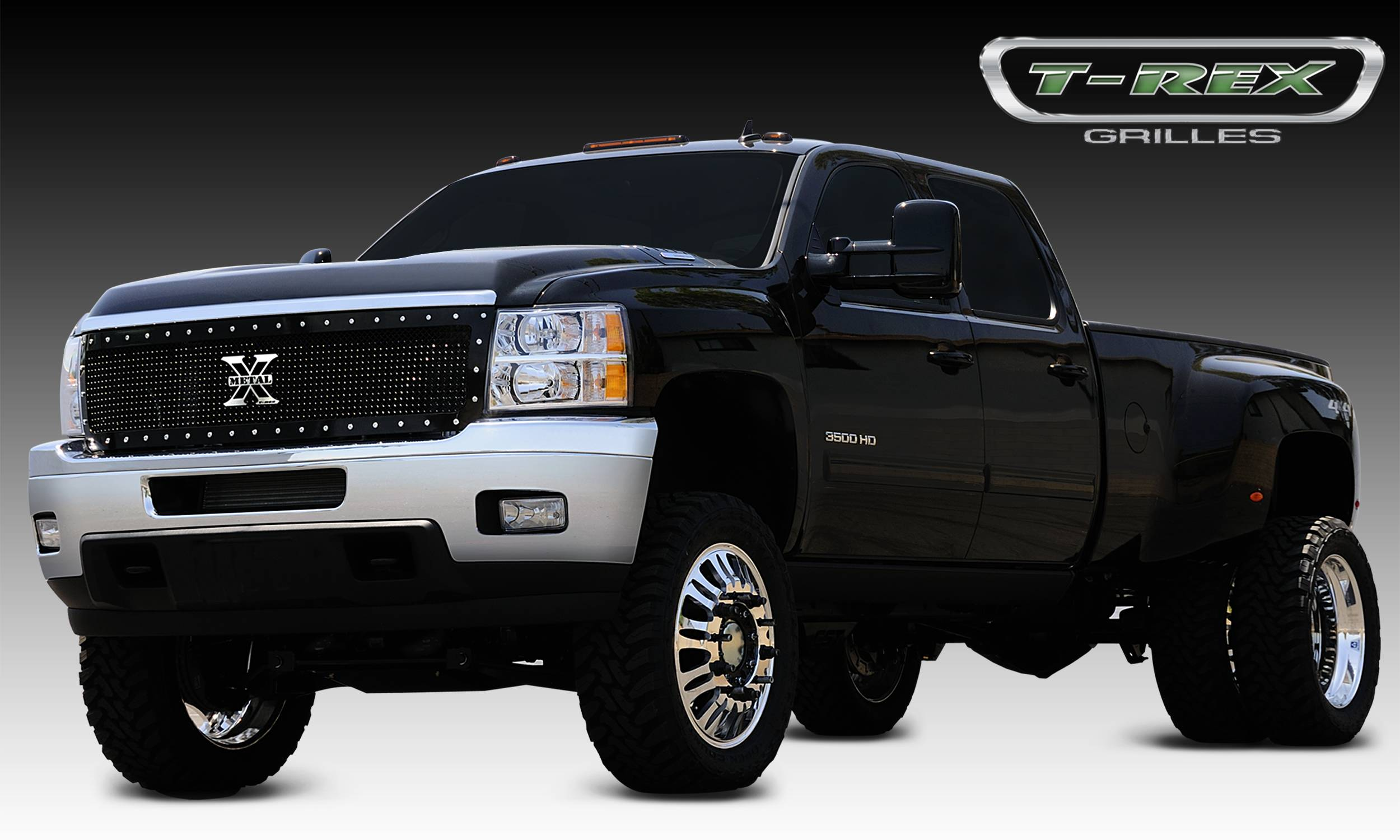 T-REX Chevrolet Silverado HD X-METAL Series - Studded Main Grille - ALL Black - Custom 1 Pc Style Replaces OE Grille UPS OS3 - Pt # 6711151