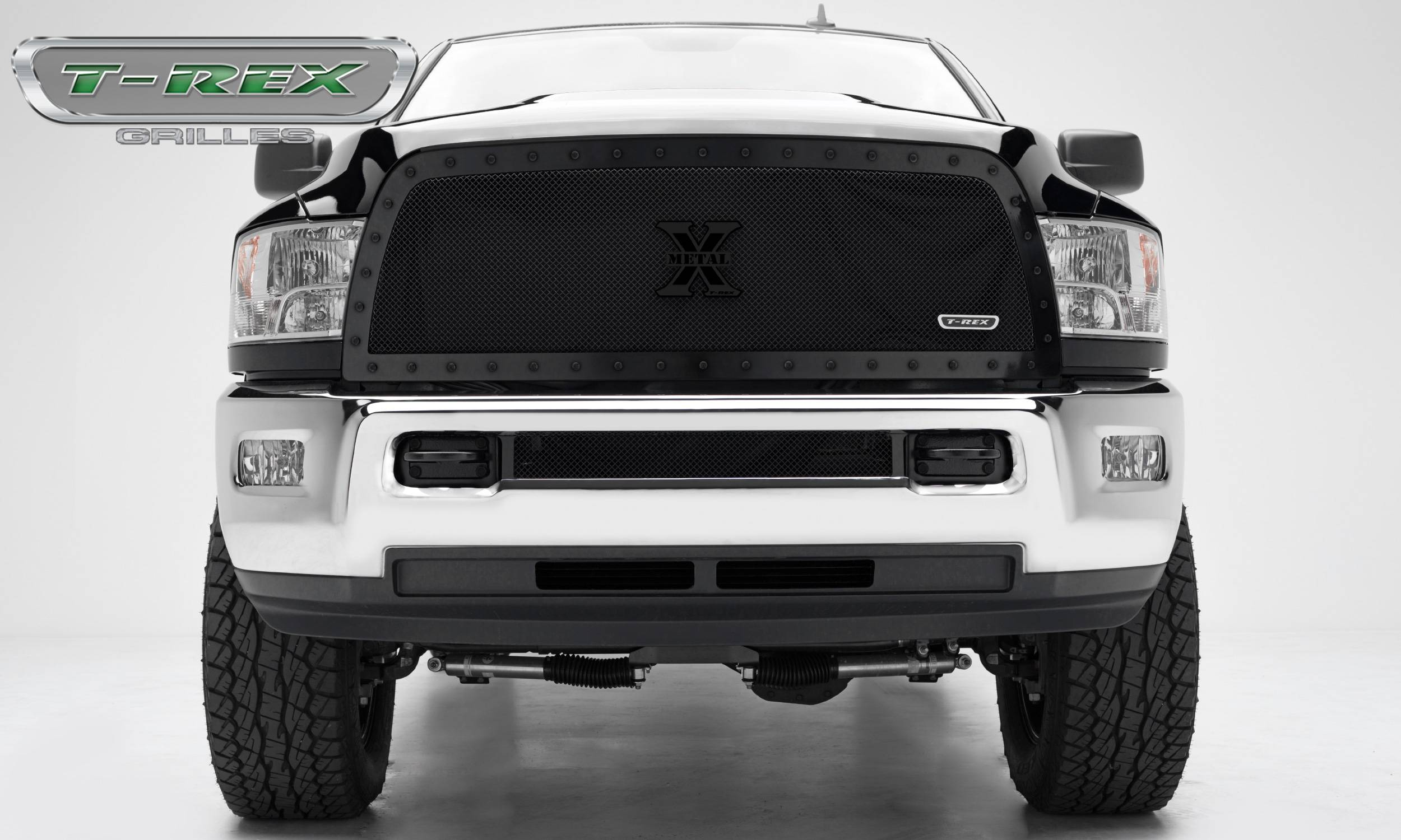 T-REX Grilles - Dodge Ram PU 2500 / 3500 X-METAL Series - Studded Main Grille - Custom 1 Pc Full Opening  - ALL Black - Pt # 6714521-BR