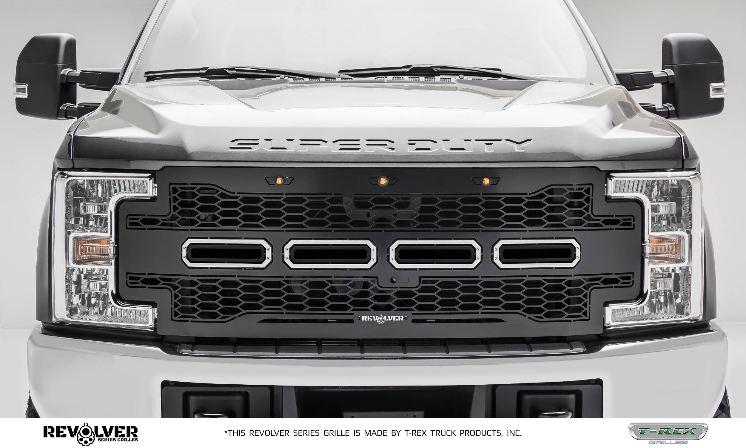 T-REX Grilles - 2017-2019 Super Duty Revolver Grille, Black, 1 Pc, Replacement, Chrome Studs, Fits Vehicles with Camera - PN #6515651
