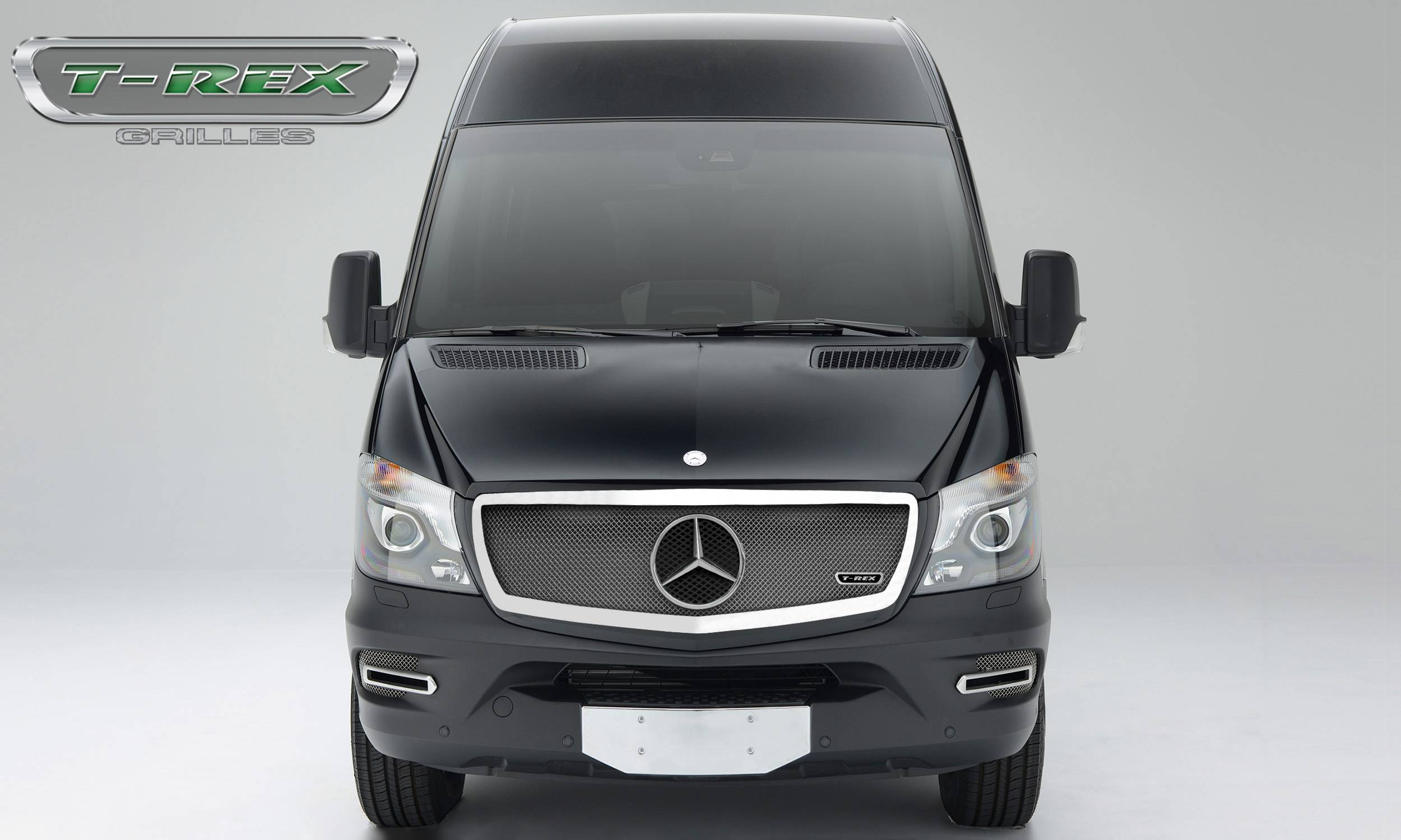 T-REX Grilles - 2014-2015 Mercedes Sprinter Upper Class Grille, Chrome, 1 Pc, Insert, with Logo Cutout - PN #56850