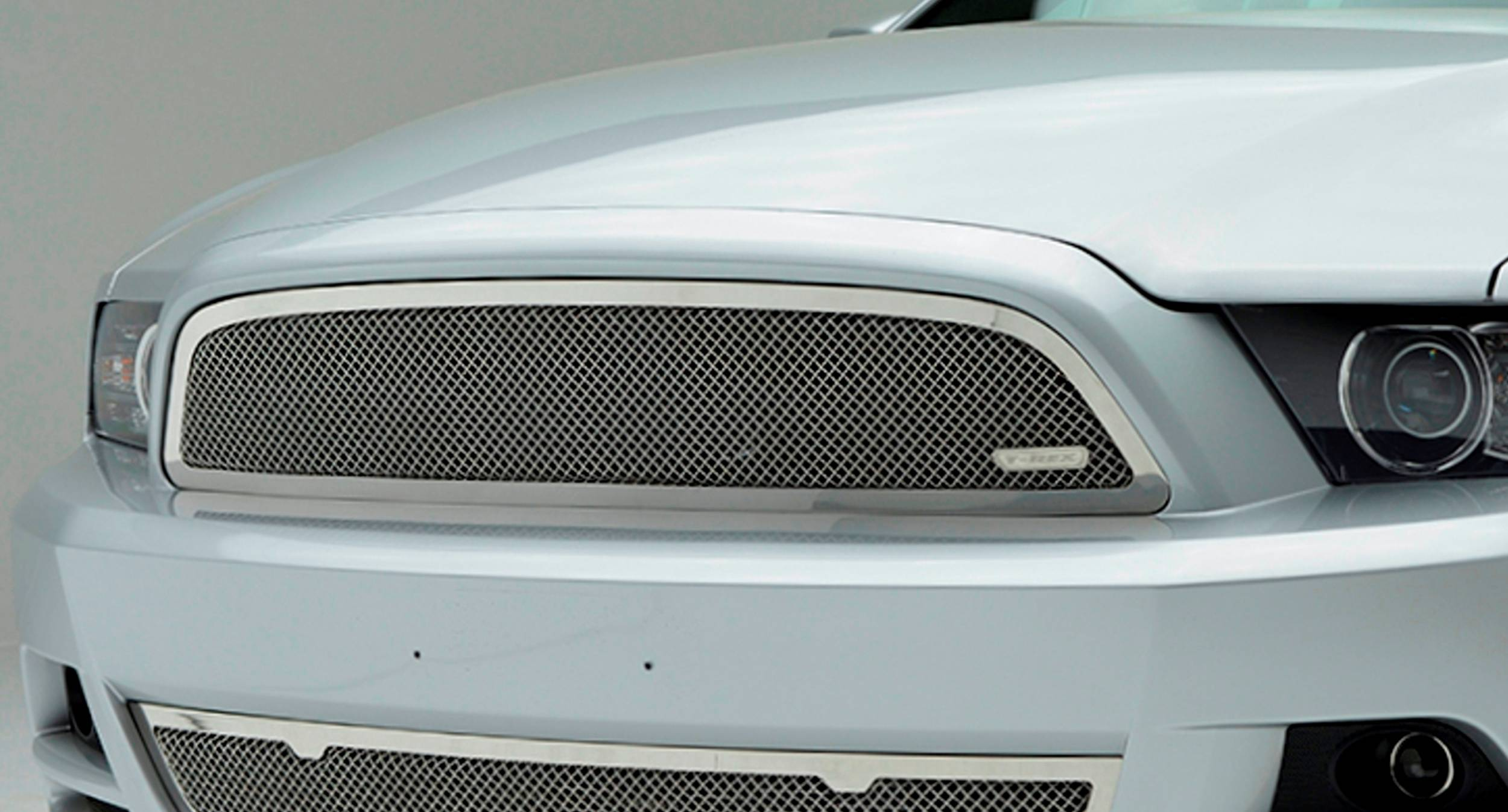 Ford Mustang V6 Coupe, Upper Class, Formed Mesh Grille, Main, No Logo cutout, Overlay, 1 Pc, Polished Stainless Steel