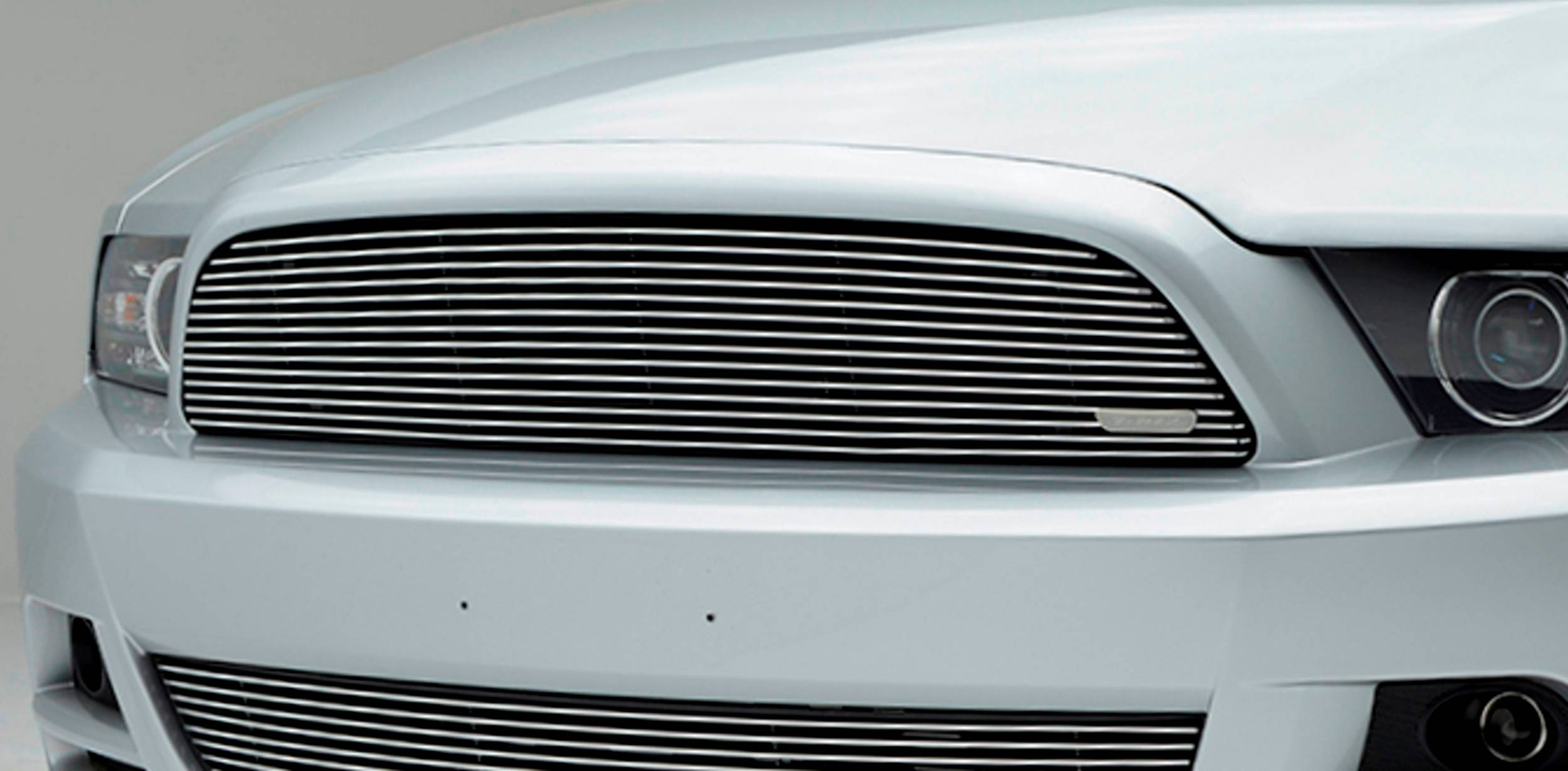 T-REX Grilles - Ford Mustang V6 Coupe,  Billet Grille, Main, Overlay, 1 Pc, Polished Aluminum Bars, No Logo cutout