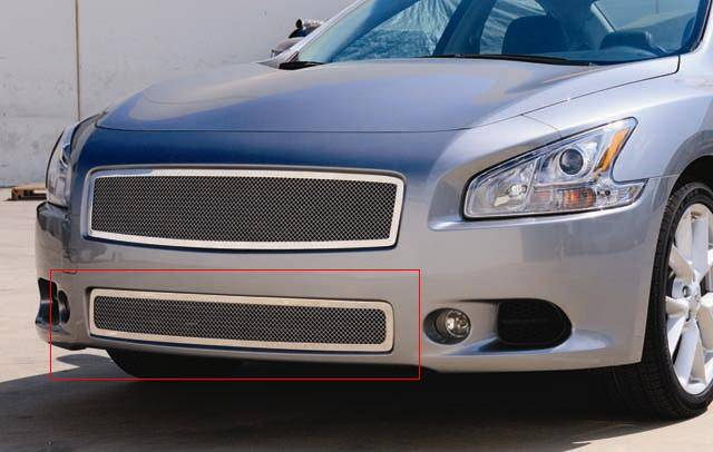 T-REX Grilles - Nissan Maxima Upper Class steel Mesh Bumper - ALL BLACK
